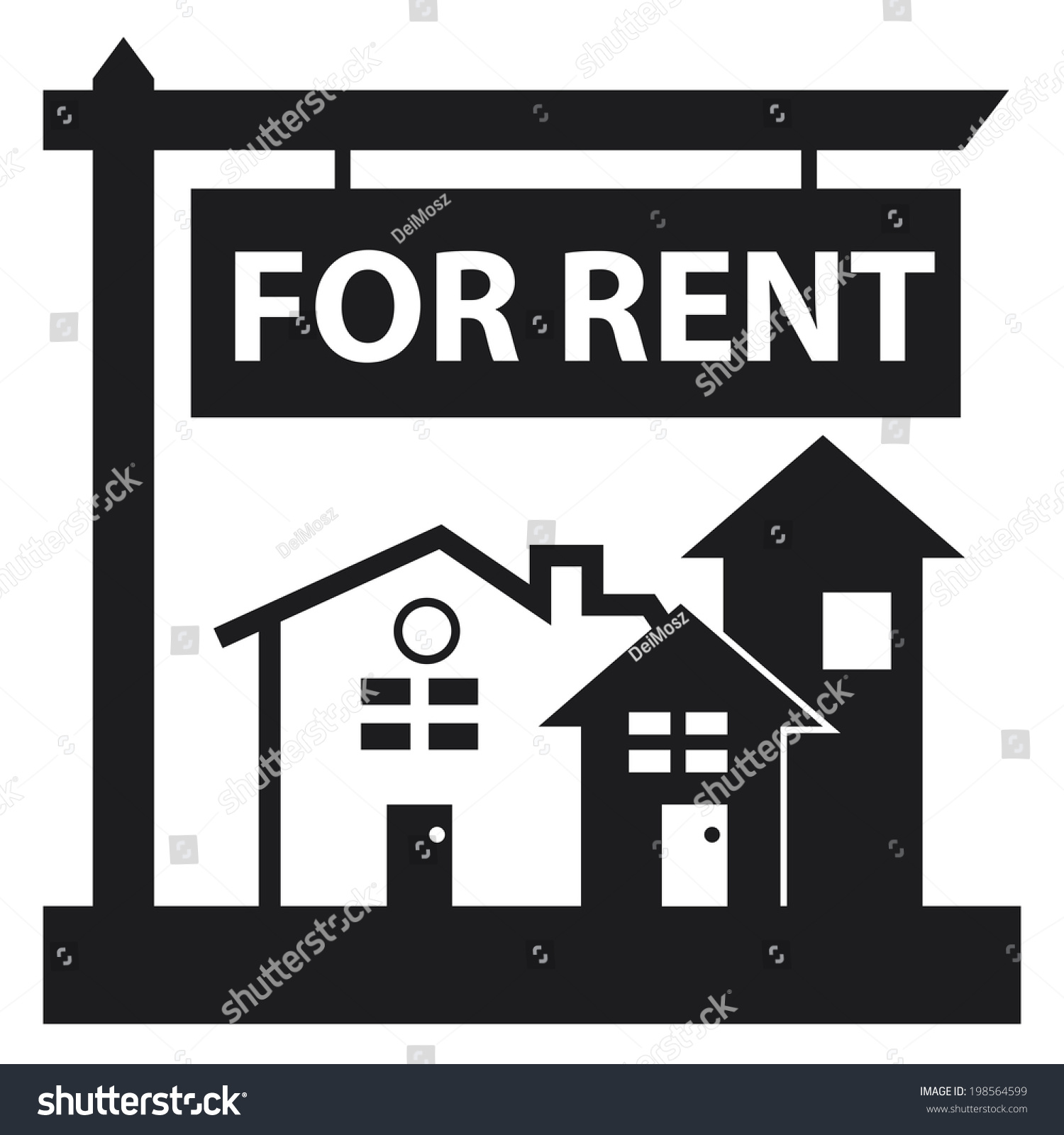 Apartment For Rent Sign: Black Home Apartment Building Condominium Real Stock