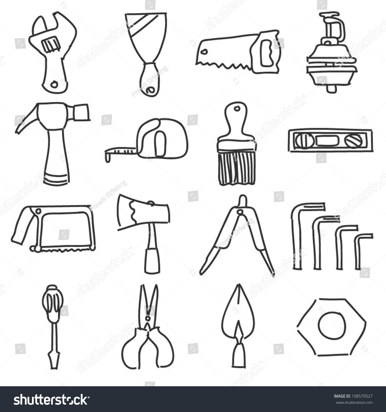 drawing tools homemade hand tools equipment icon line drawing stock vector royalty free