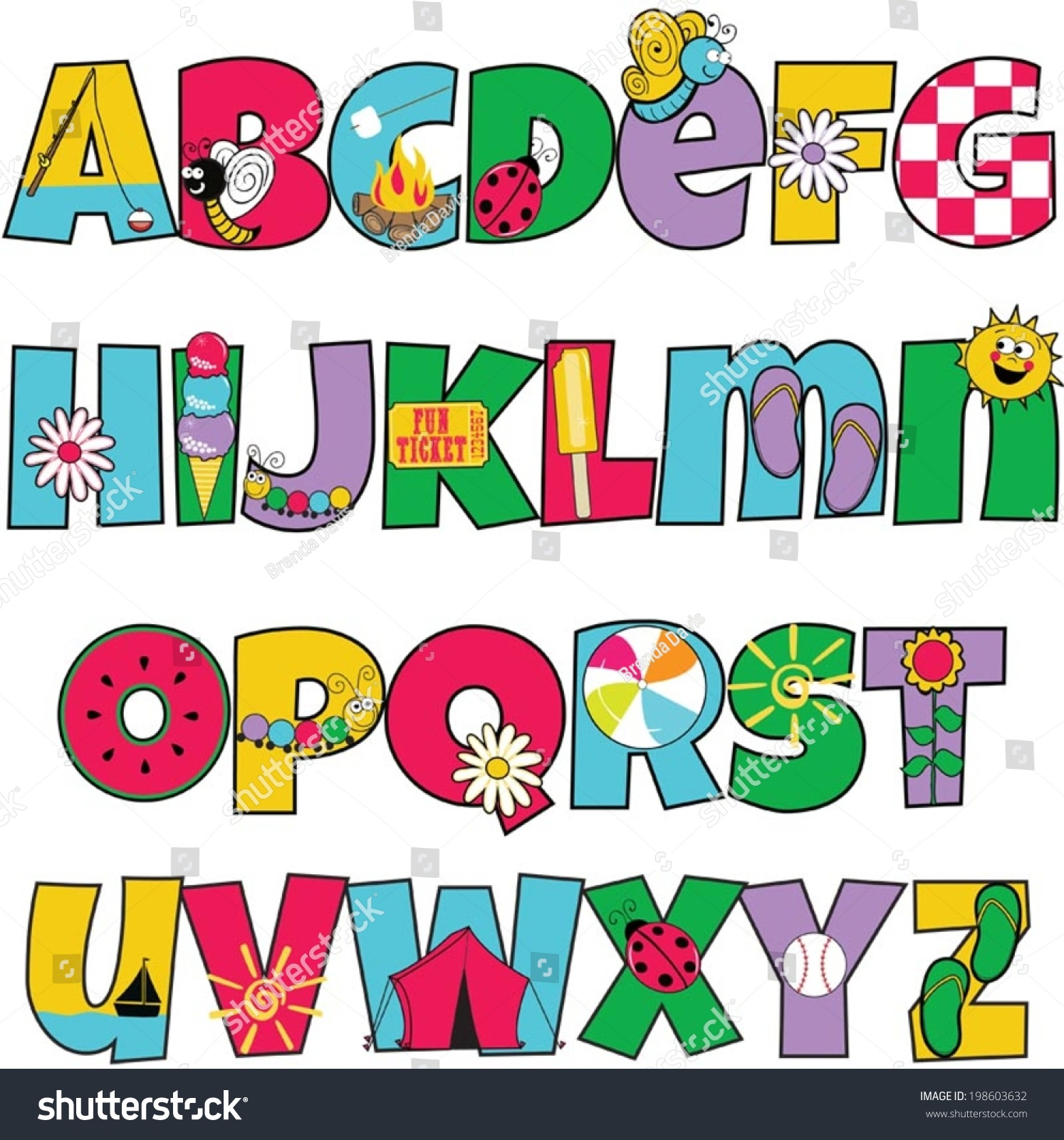 Colorful Kids Alphabet Summer Themed Letters Stock Vector 198603632 ...