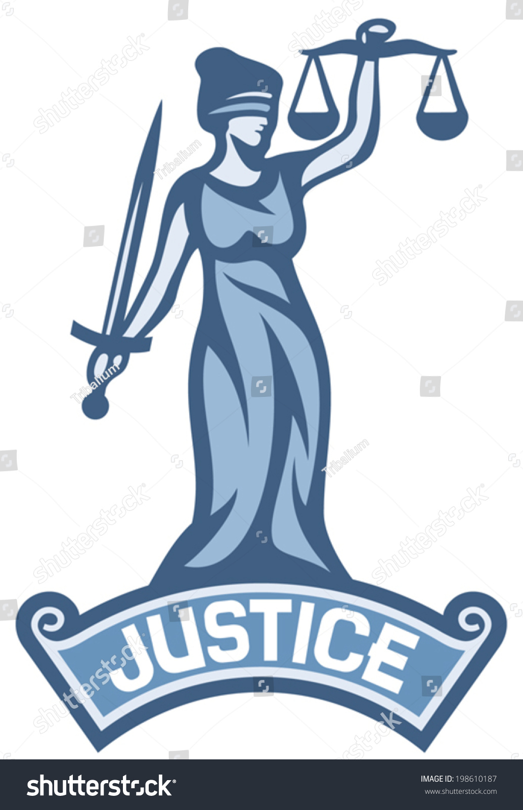 justice statue label scales of justice symbol lady