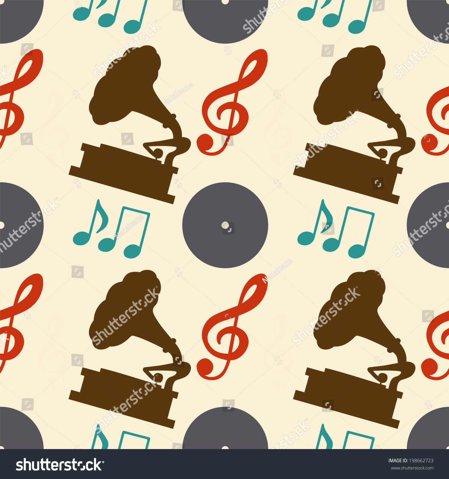 Musical Vinyl Wallpaper: Musical Seamless Pattern With Silhouettes Music Notes
