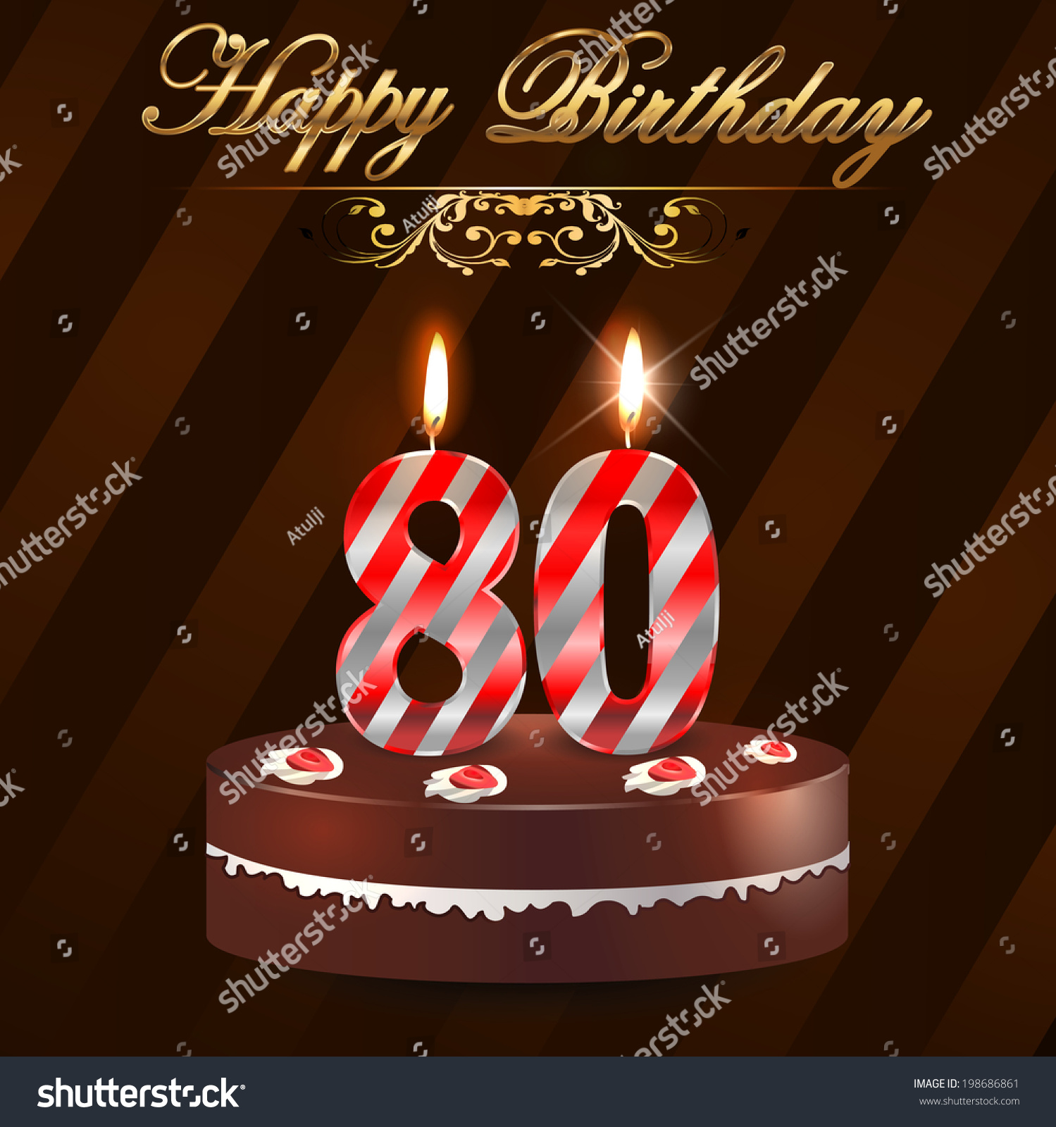 80 Year Happy Birthday Card With Cake And Candles 80th