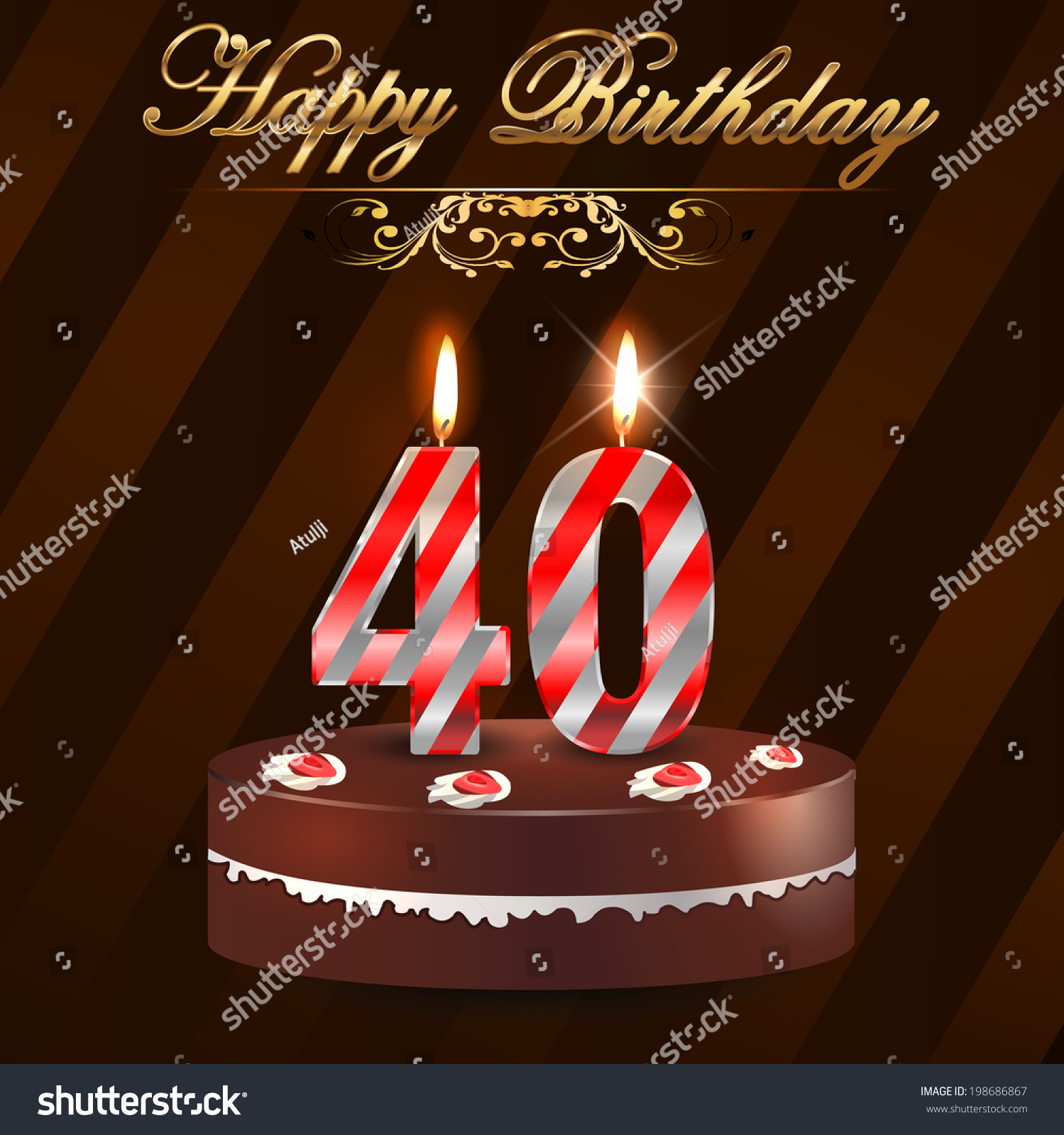 40 Year Happy Birthday Card With Cake And Candles 40th