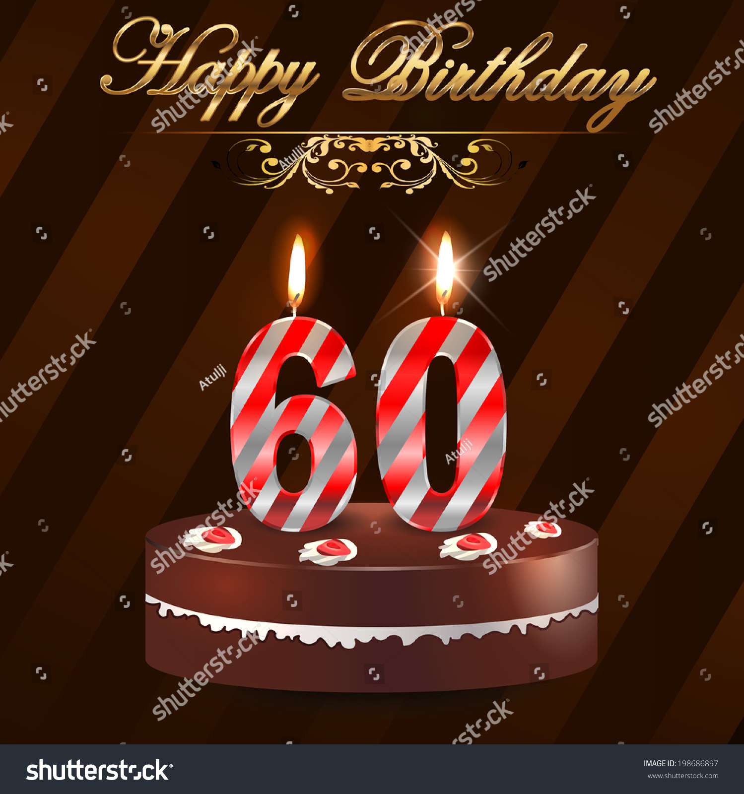 60 Year Happy Birthday Card Cake Vector 198686897 Shutterstock – Happy 60th Birthday Cards