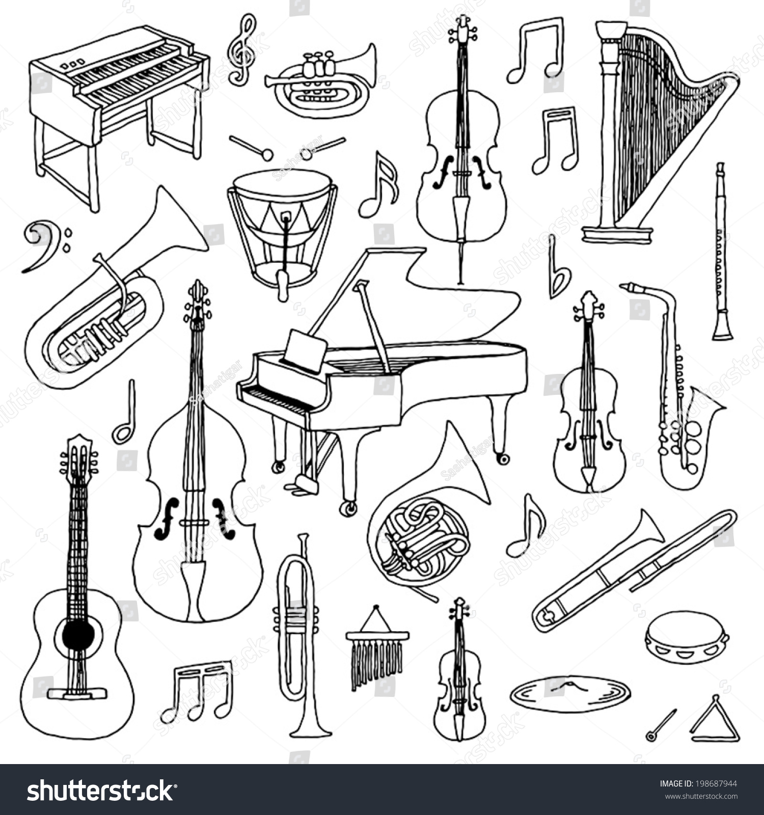 This is a picture of Inventive Musical Instruments Drawing