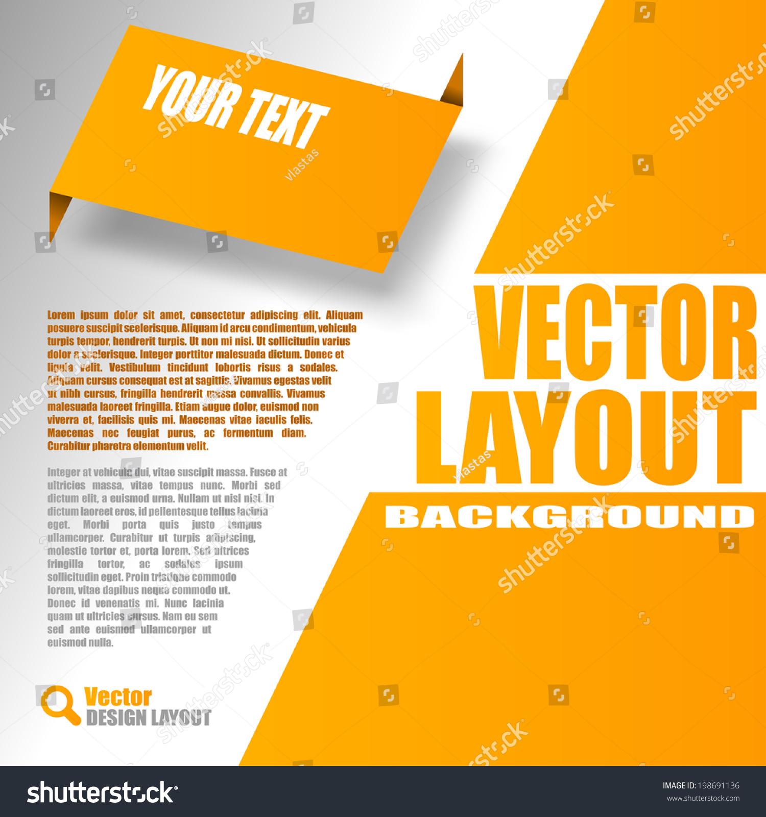 Orange Layout Vector Design Page Stock Vector 198691136 - Shutterstock