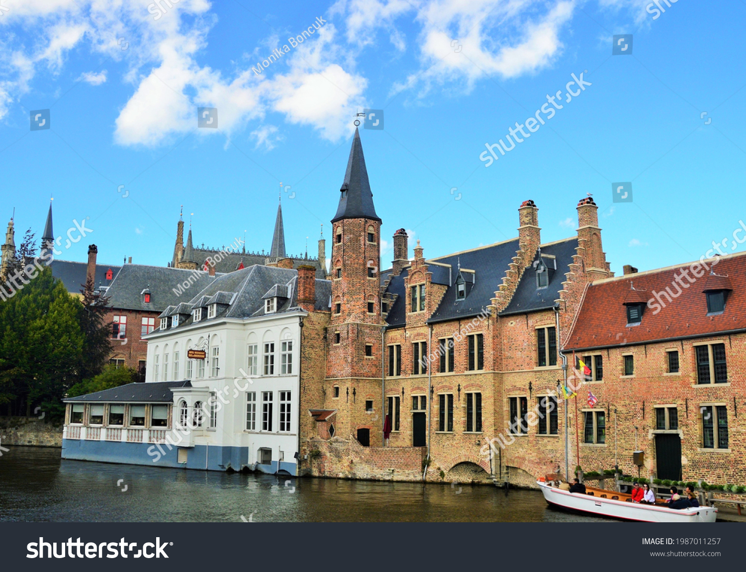Bruges,Belgium,September 2017,a panoramic view of the old town