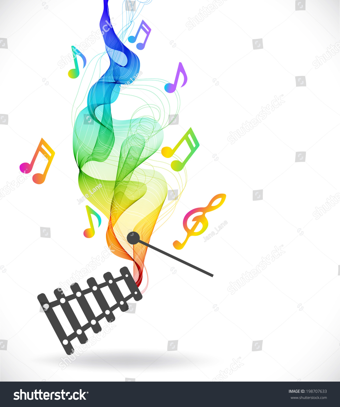 Dark Gray Xylophone Icon With Color Abstract Wave Over White Ez Canvas Notes Diagram Id 198707633