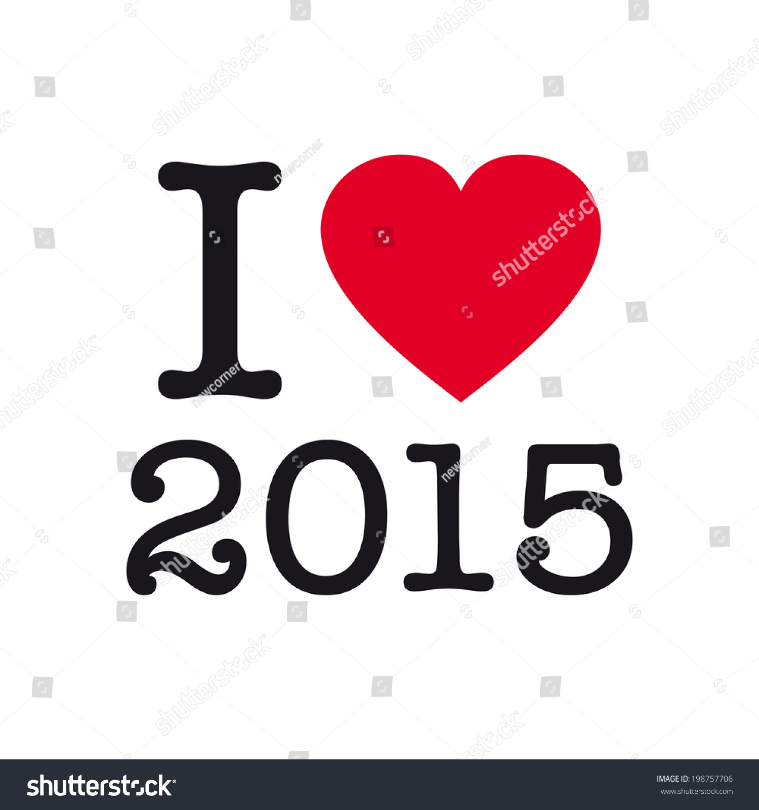 i love 2015 happy new year 2015 card