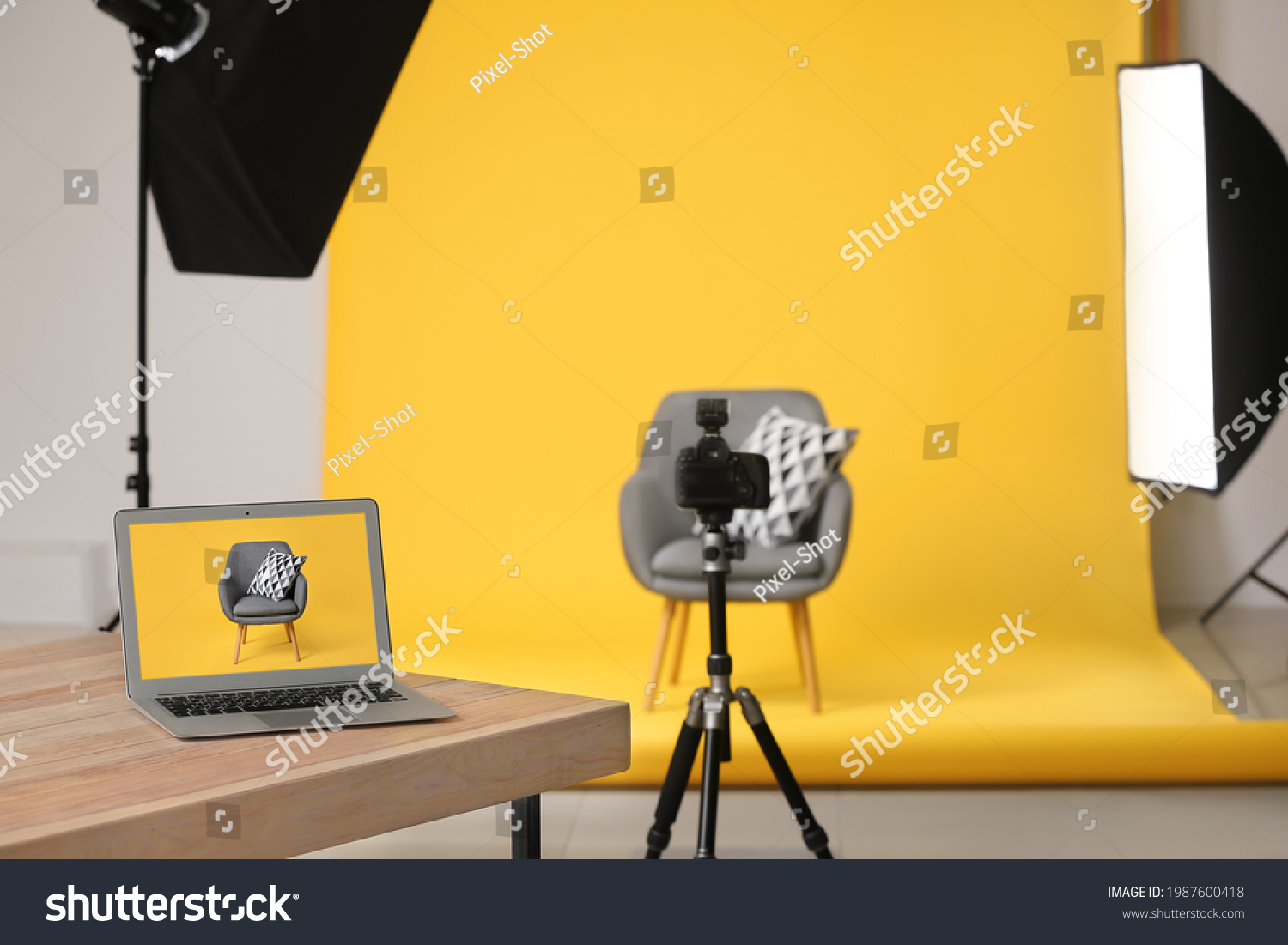Interior of modern studio during photographing of furniture #1987600418