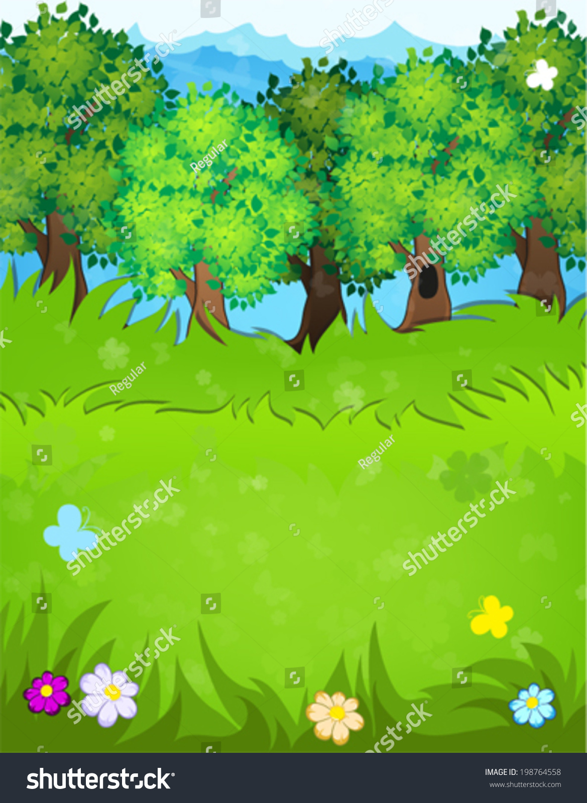 trees flowers butterflies meadow summer landscape stock vector