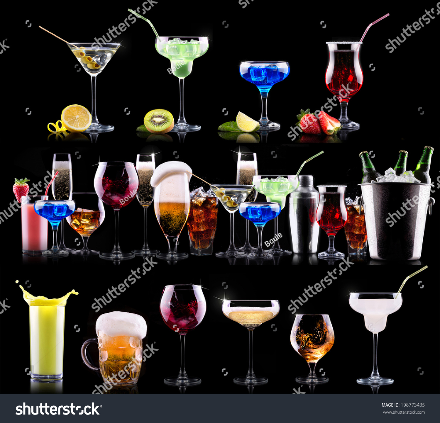Different Alcohol Drinks Set Beer Wine Stock Photo