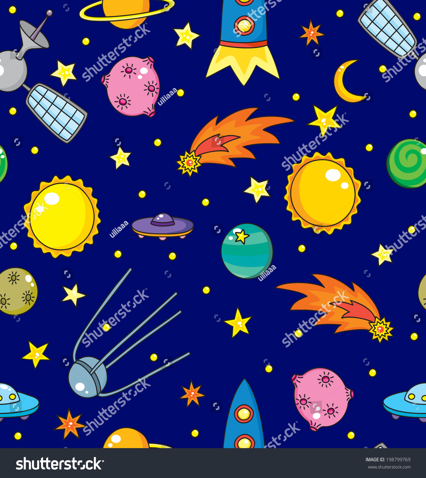 seamless pattern space rockets planets comet stock vector
