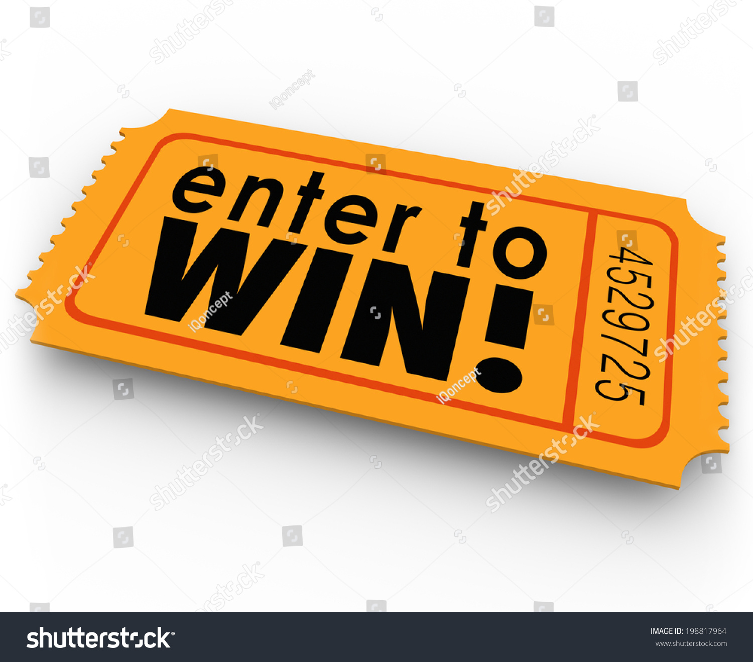 enter win words orange ticket raffle stock illustration  enter to win words orange ticket for a raffle or jackpt drawing winner of cash or
