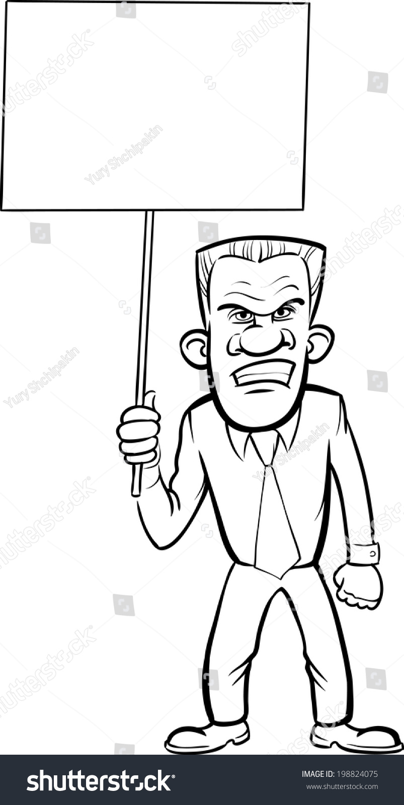 Whiteboard Drawing Cartoon Angry Businessman Blank Stock Vector