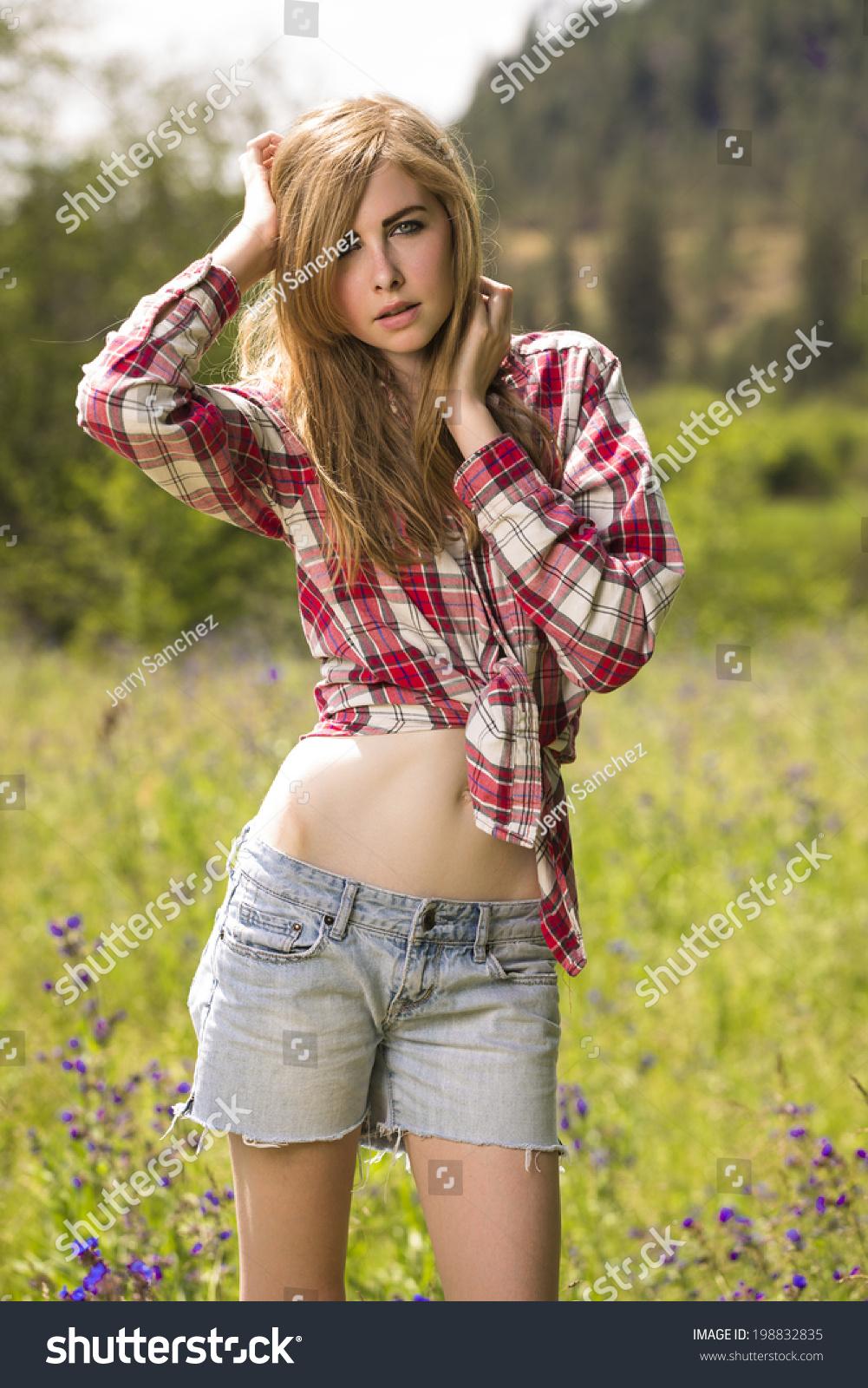 Beautiful Young American Teen Girl Western Stock Photo