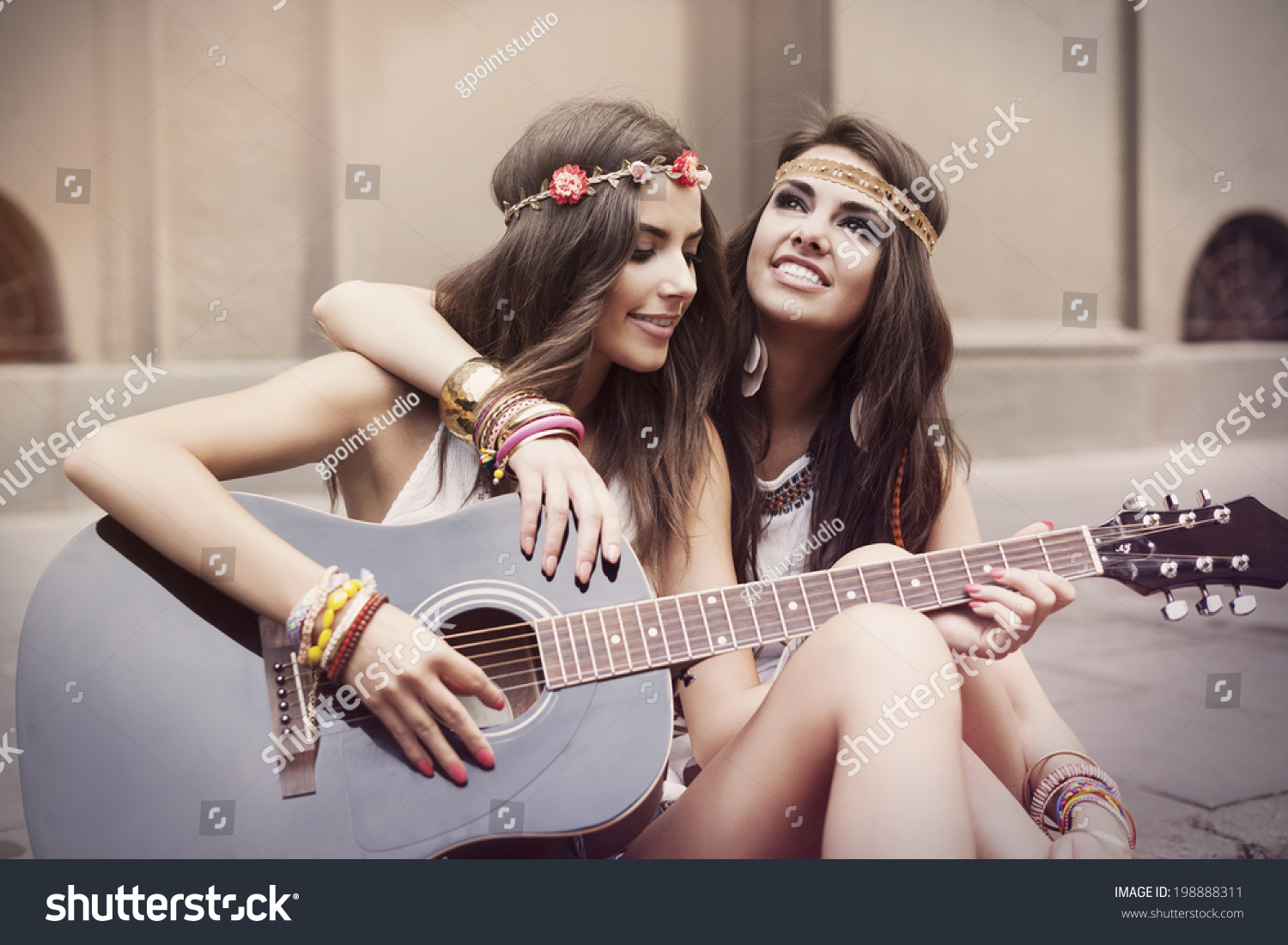 Girls stylish with guitar exclusive photo