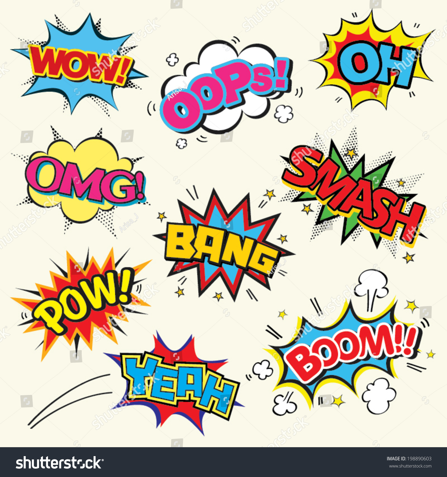 Set comic text pop art style stock vector 198890603 shutterstock set of comic text pop art style toneelgroepblik Images