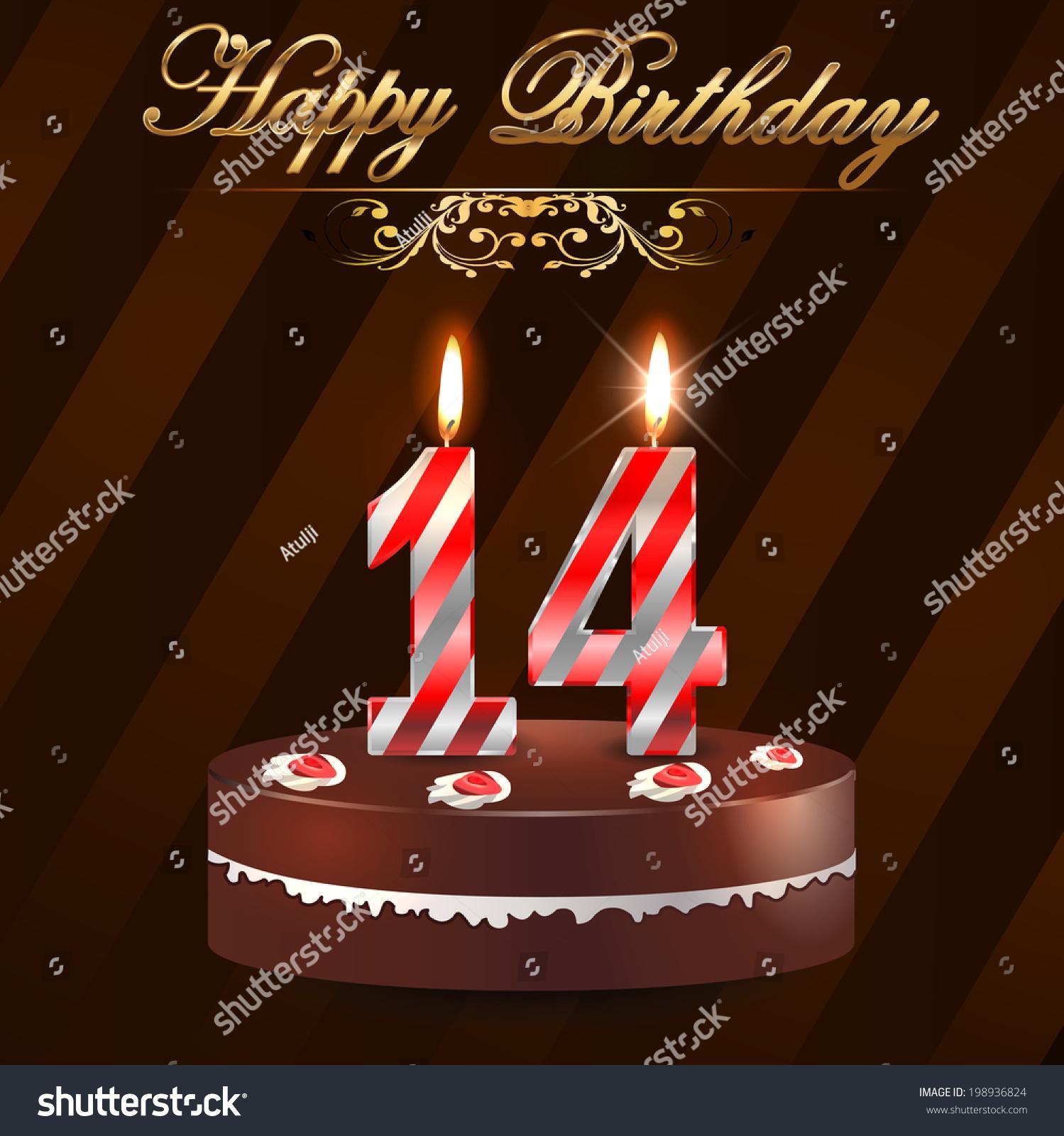 14 Year Happy Birthday Card Cake Stock Vector 198936824 ...