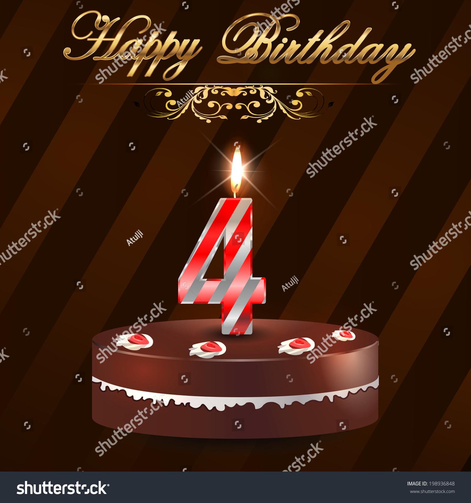4 Year Happy Birthday Card Cake Stock Vector Royalty Free