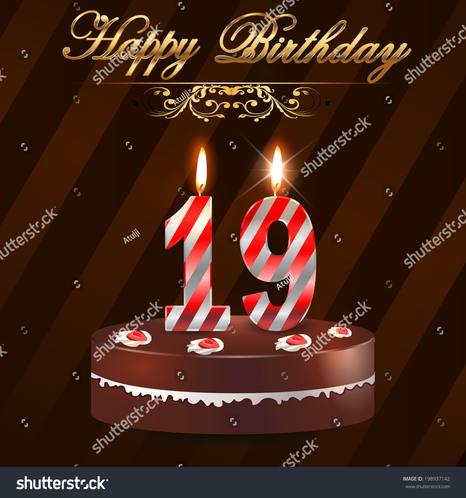 Royaltyfree 19 year Happy Birthday Card with cake 198937142 – 19 Birthday Cards
