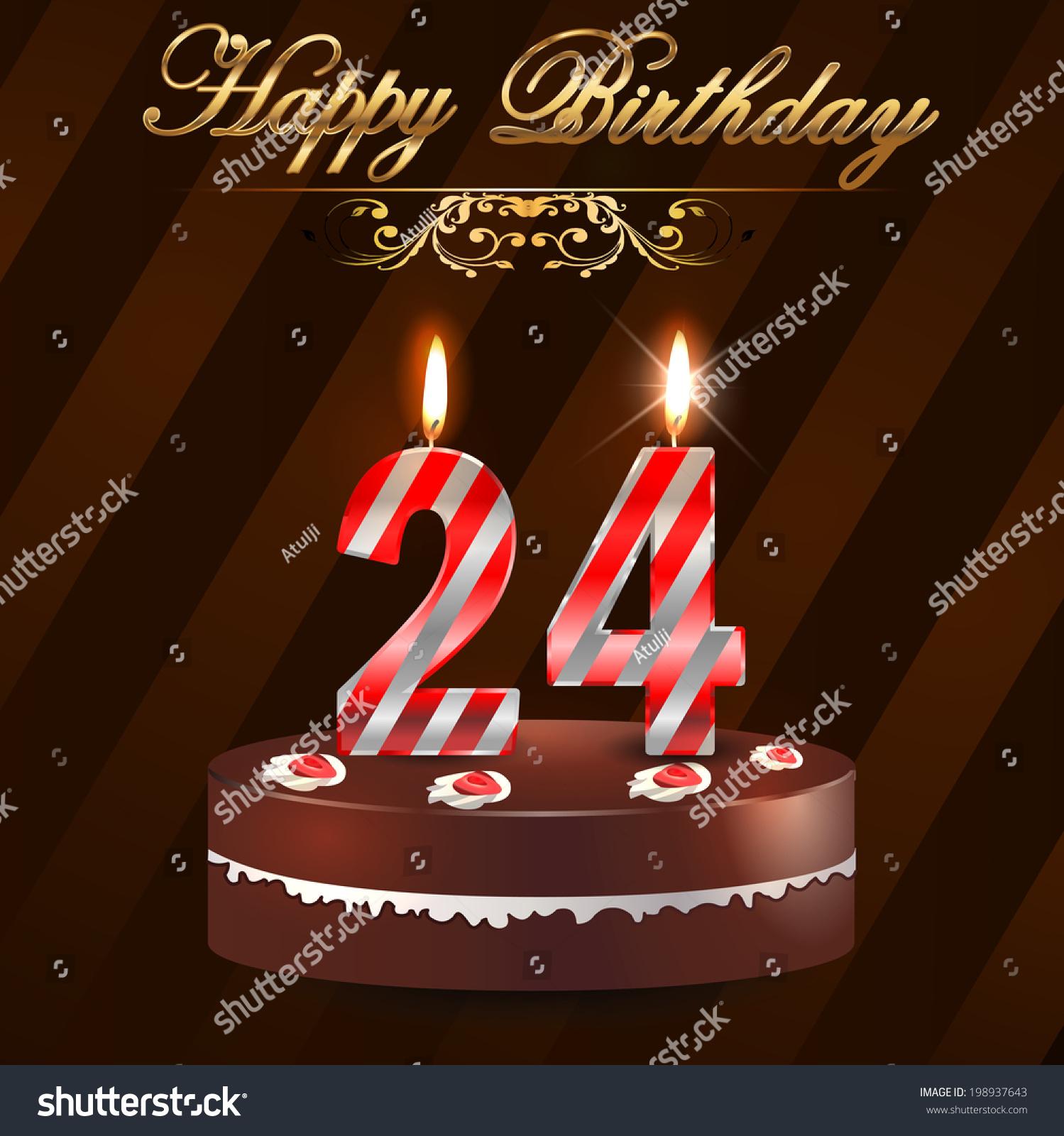 24th Year Happy Birthday Card Cake Stock Vector Royalty Free