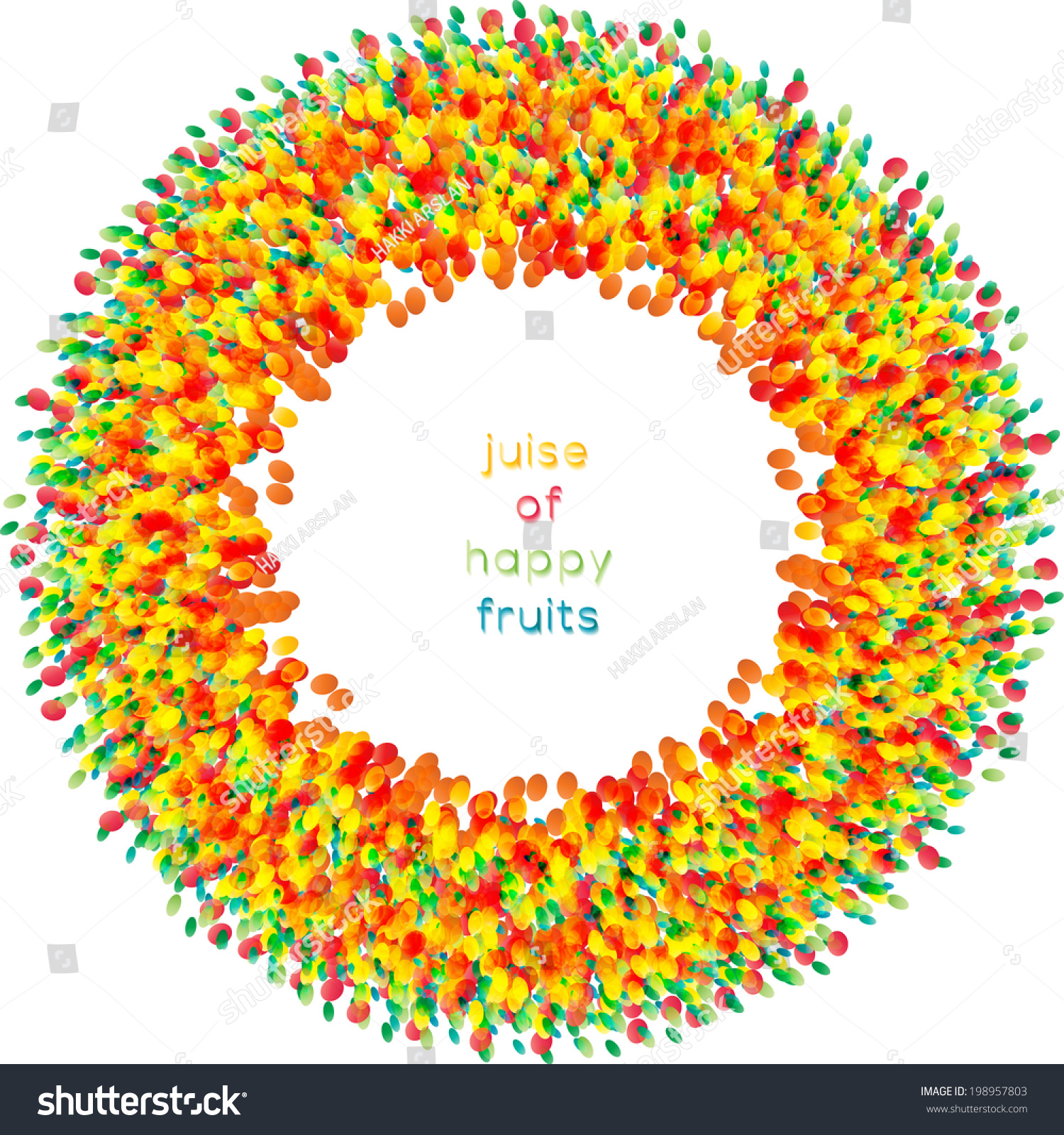 Colorful Fruit Mix Abstract Illustrated Vector Stock Vector