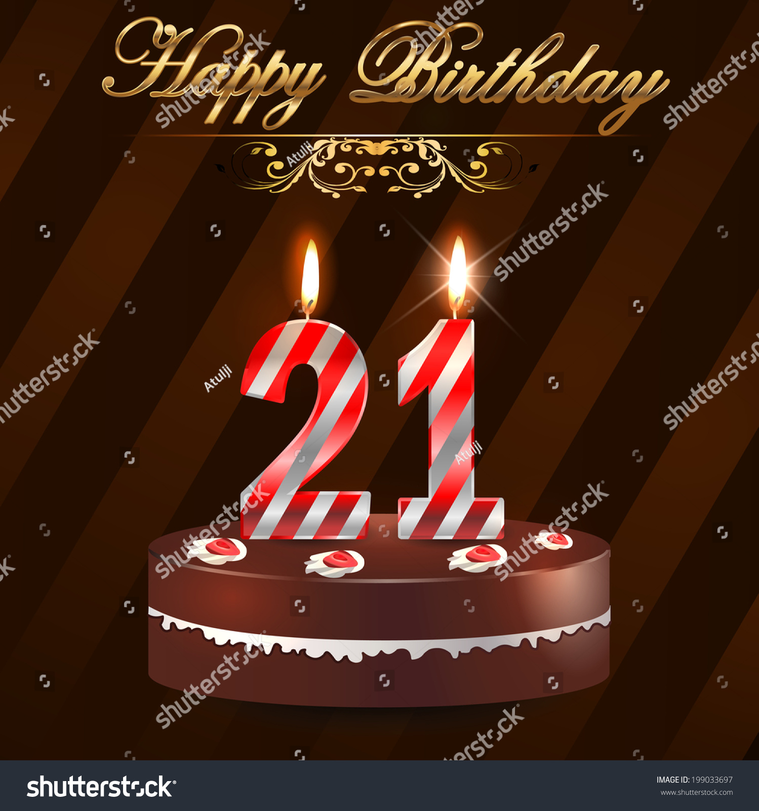 21 Year Happy Birthday Card With Cake And Candles 21st