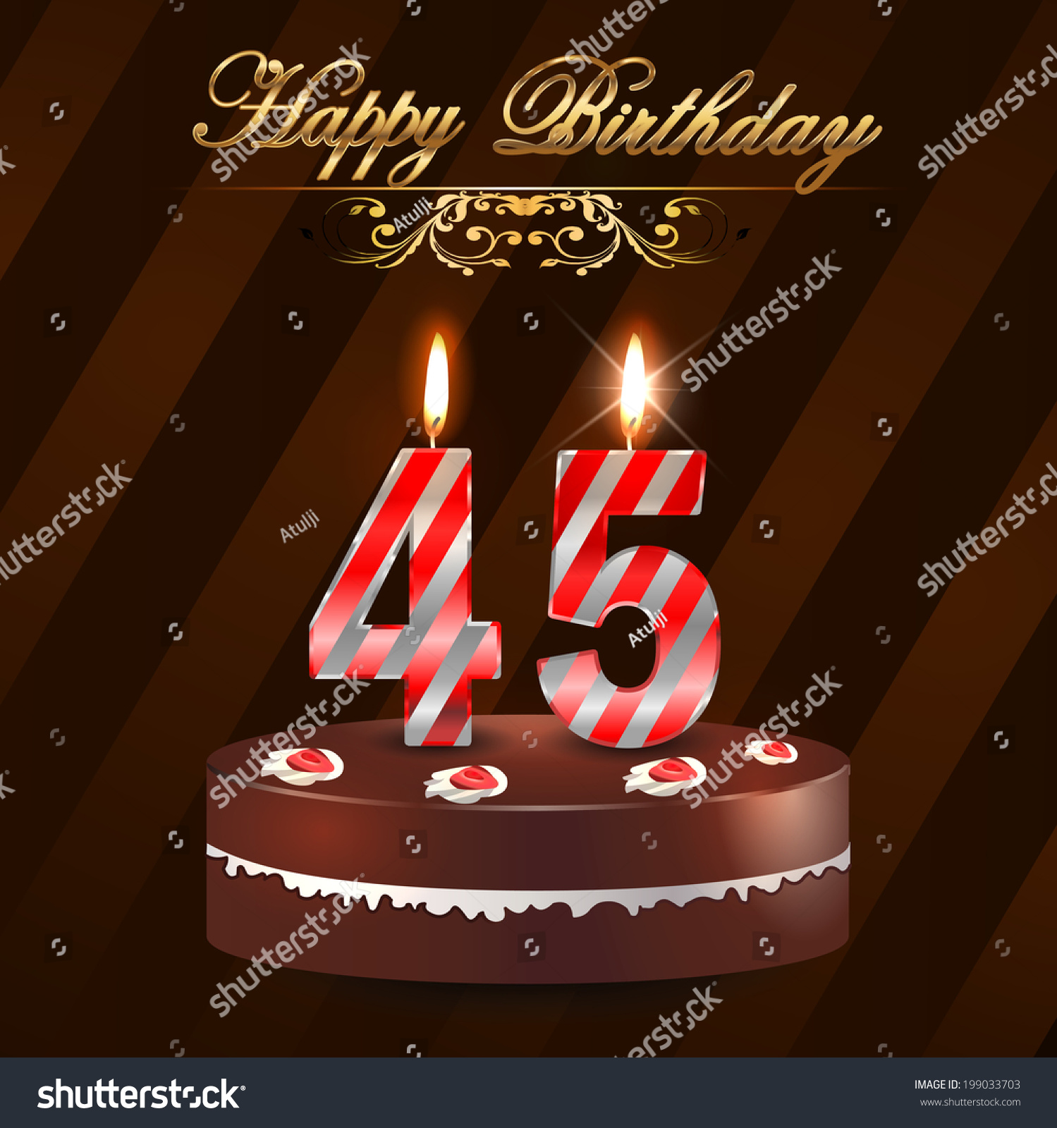 45 Year Happy Birthday Card With Cake… Stock Photo