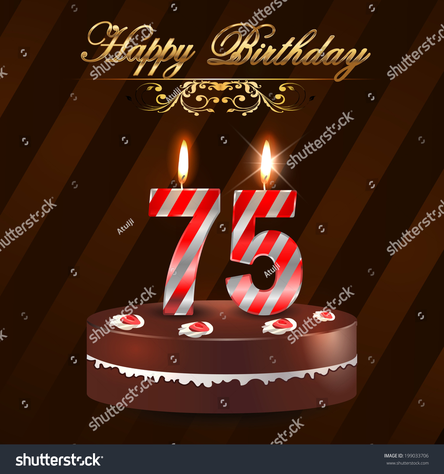 75 Year Happy Birthday Card With Cake And Candles 75th