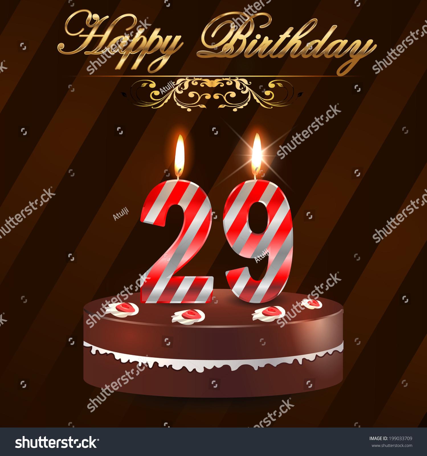29 Year Happy Birthday Card Cake Stock Vector Royalty Free