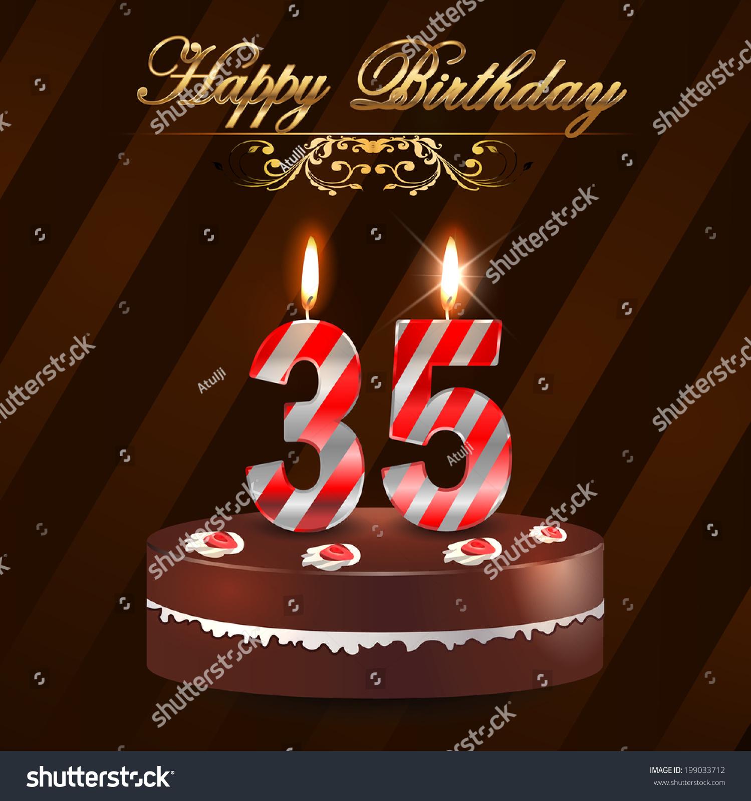 Peachy 35 Year Happy Birthday Card Cake Stock Vector Royalty Free 199033712 Personalised Birthday Cards Sponlily Jamesorg