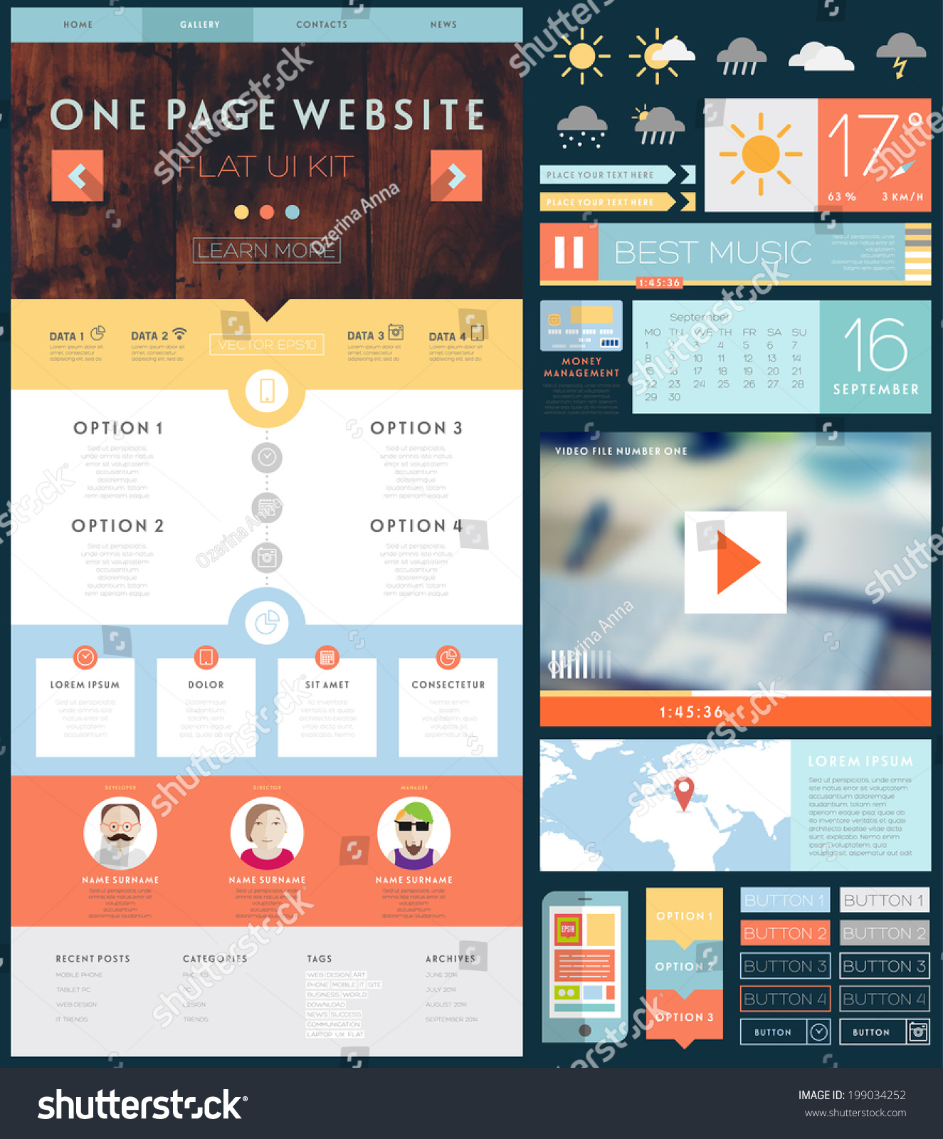 vetor stock de one page website design template ui livre de