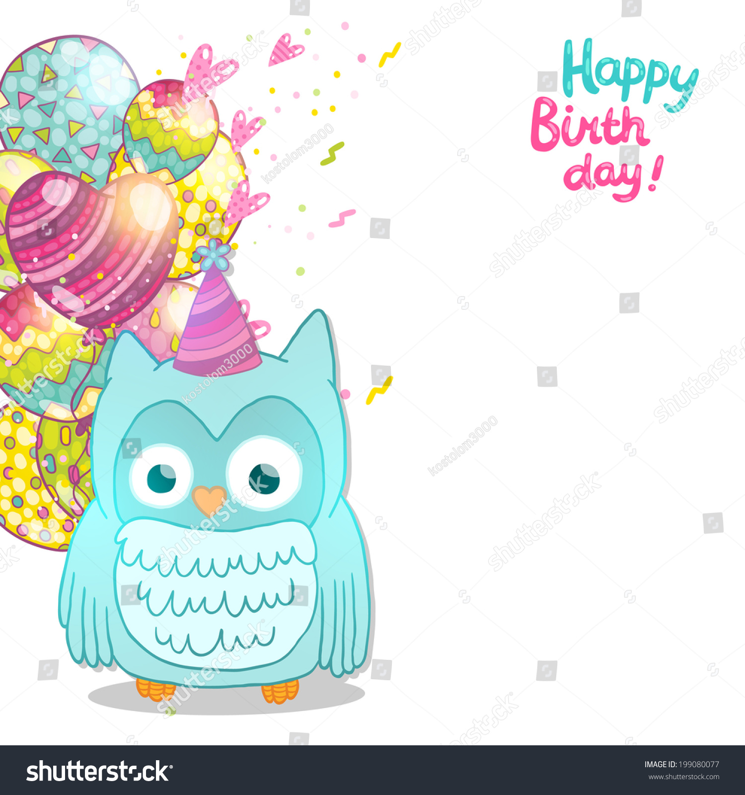 happy birthday card background cute cartoon owl vector happy birthday card background cute cartoon owl vector holiday party template greeting postcard