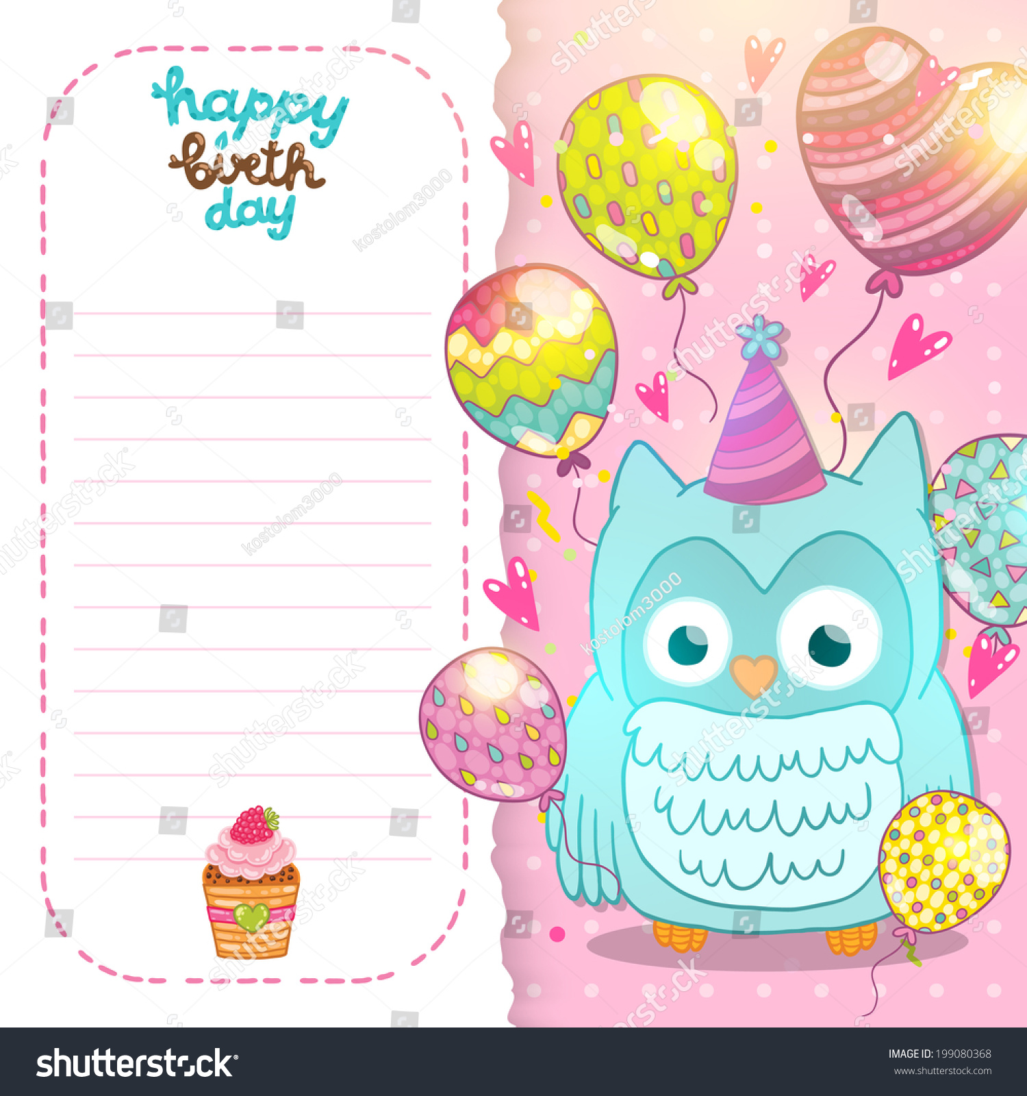 Happy Birthday Card Background With Cute Cartoon Owl Vector Holiday Party Template Greeting Postcard