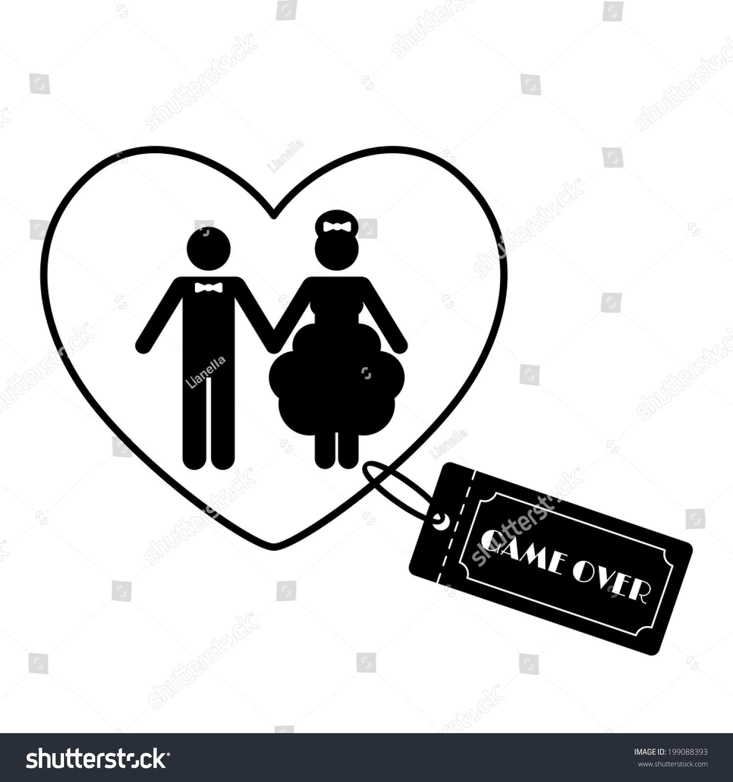 Cartoon Funny Wedding Symbols Game Over Stock Vector Royalty Free 199088393