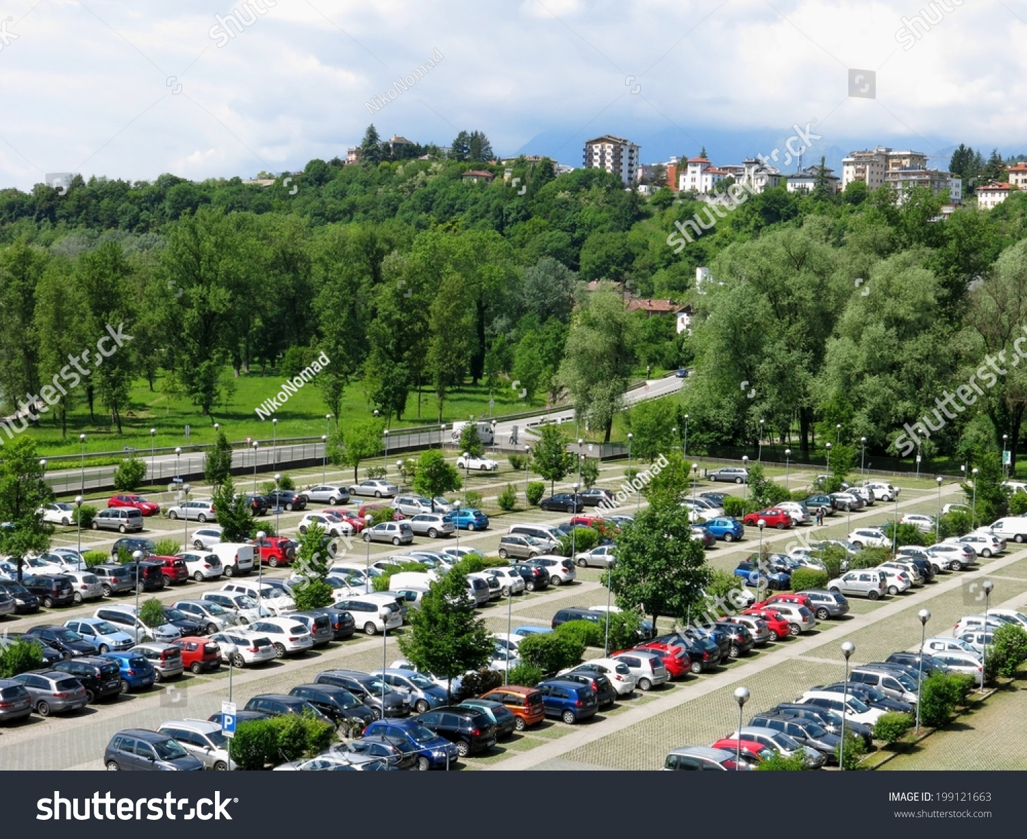 aerial parking outdoors vehicles green park stock photo. Black Bedroom Furniture Sets. Home Design Ideas