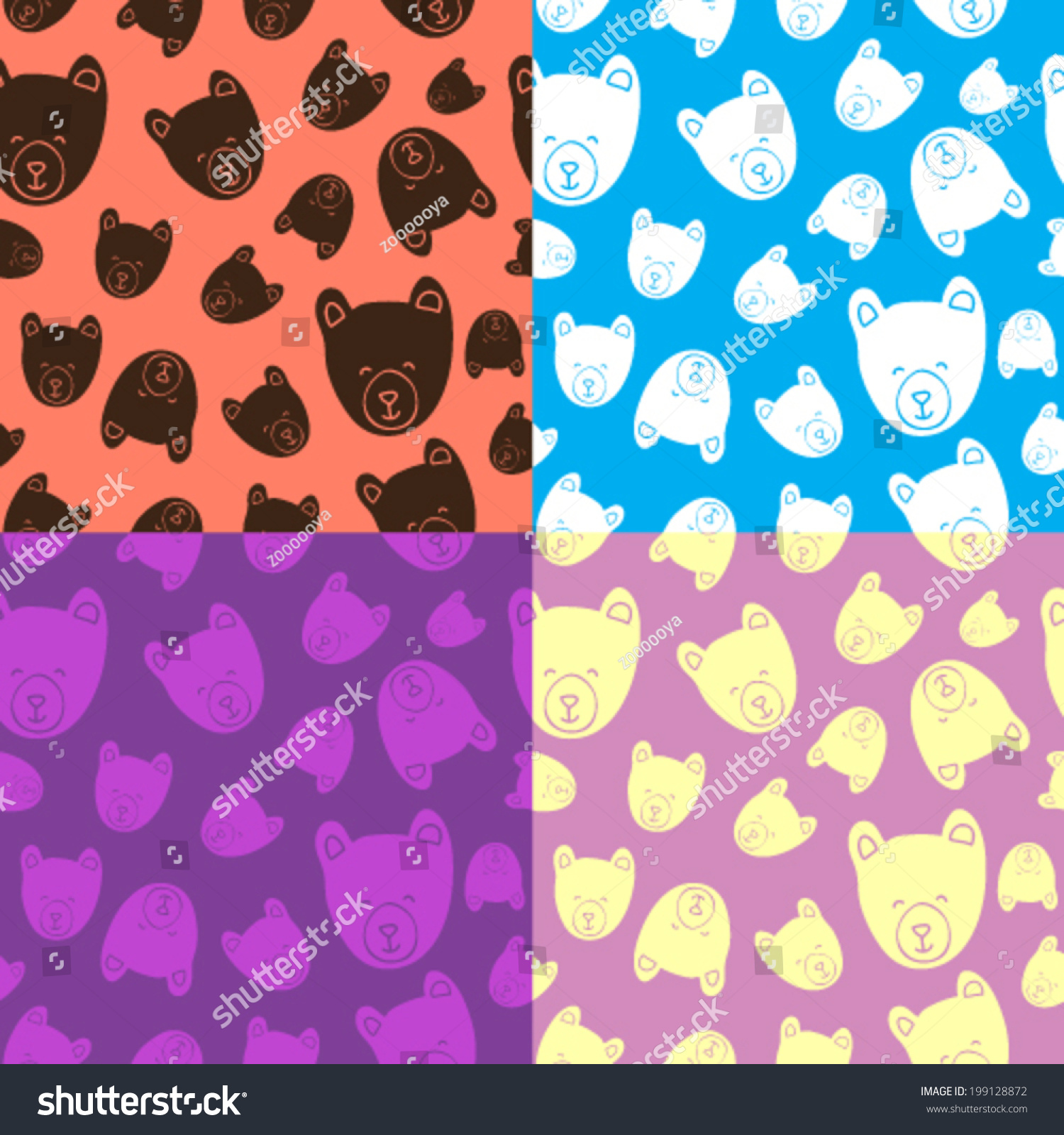 bear teddy bear vector seamless pattern stock vector 199128872
