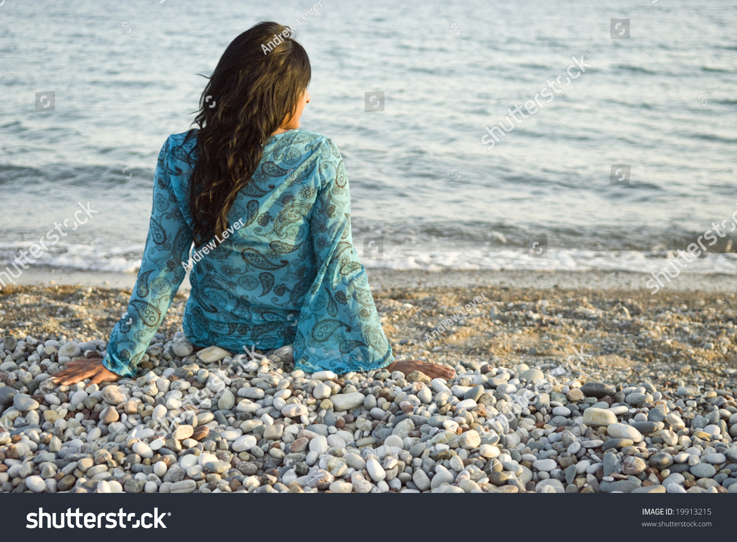 Rear View Beautiful Indian Girl Sitting Stock Photo -5724