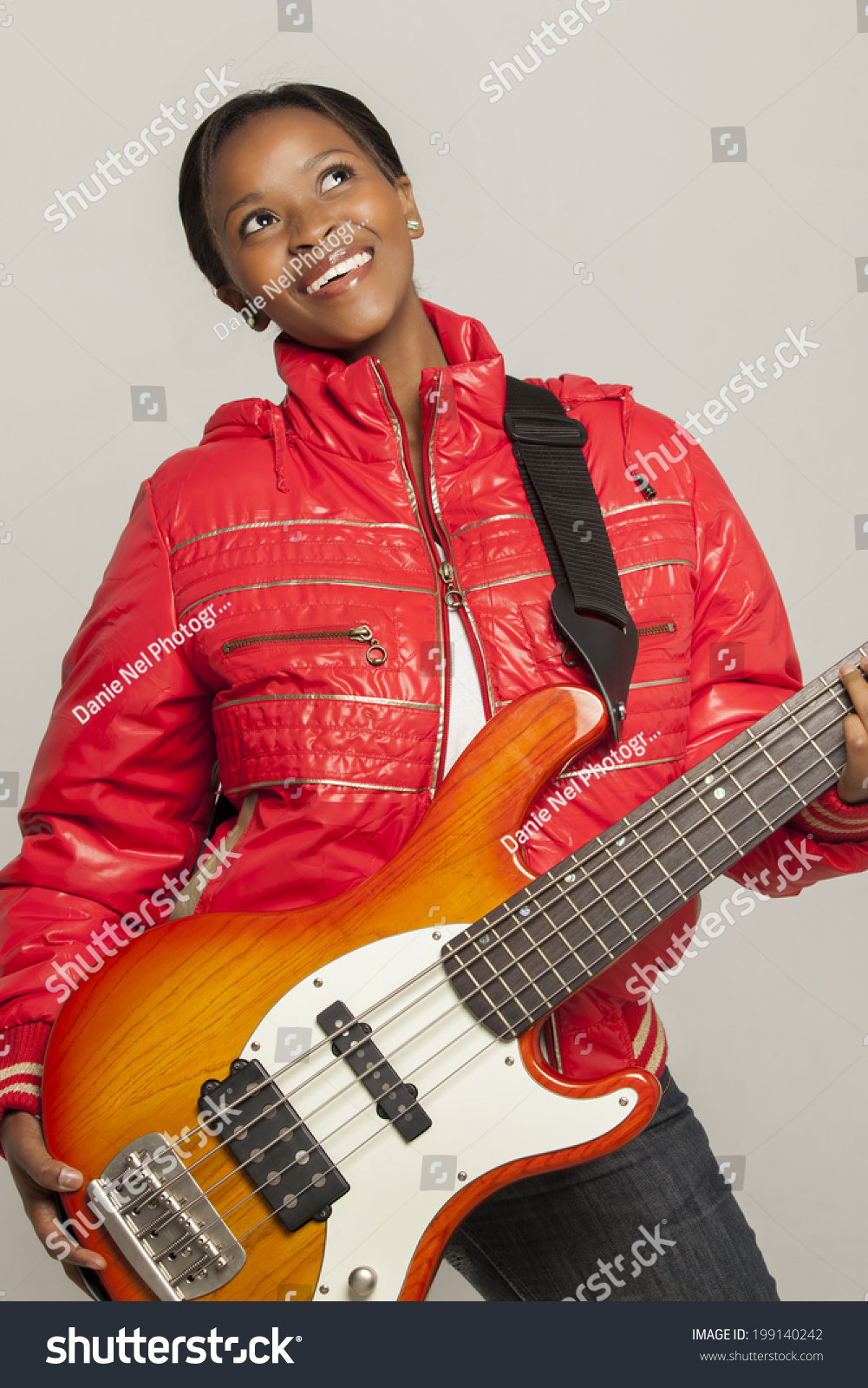 South African female bass player with a… Stock Photo 199140242
