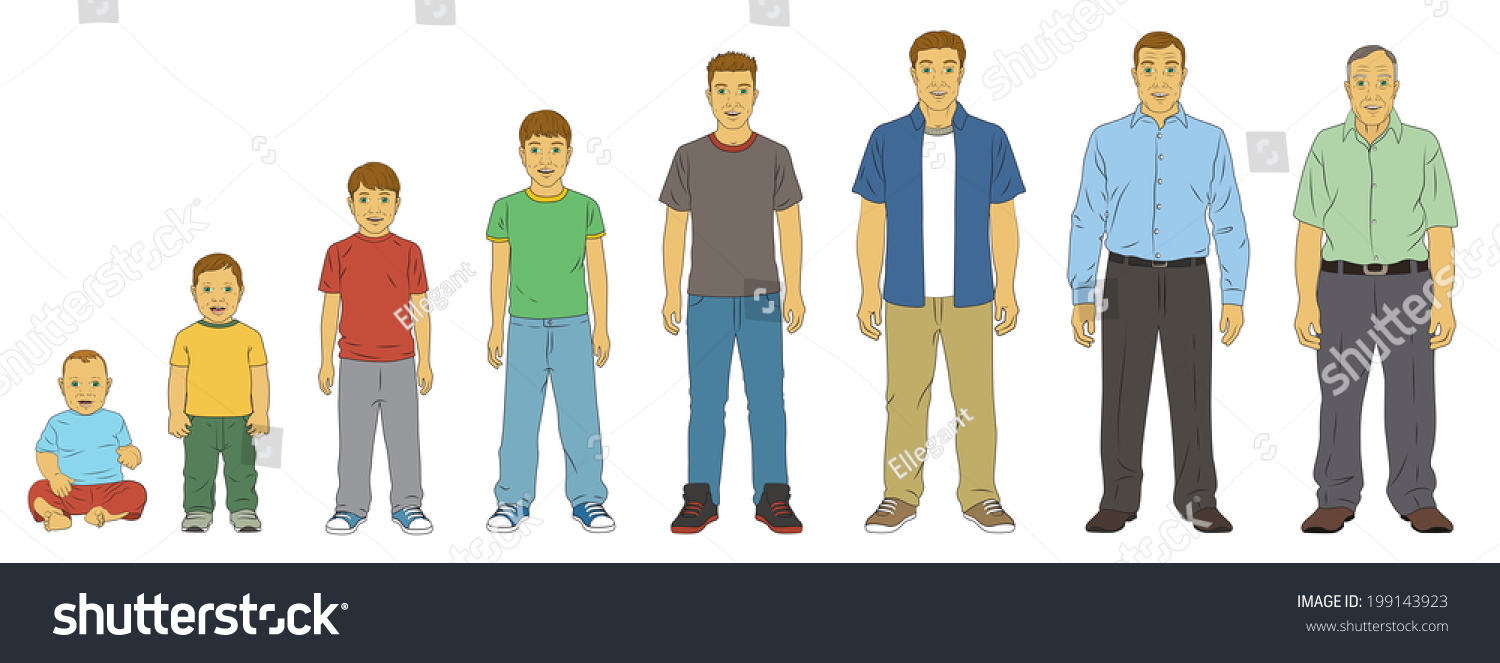 age progression Age Progression & Life Cycle of White (Caucasian) Male in various Stages of  life