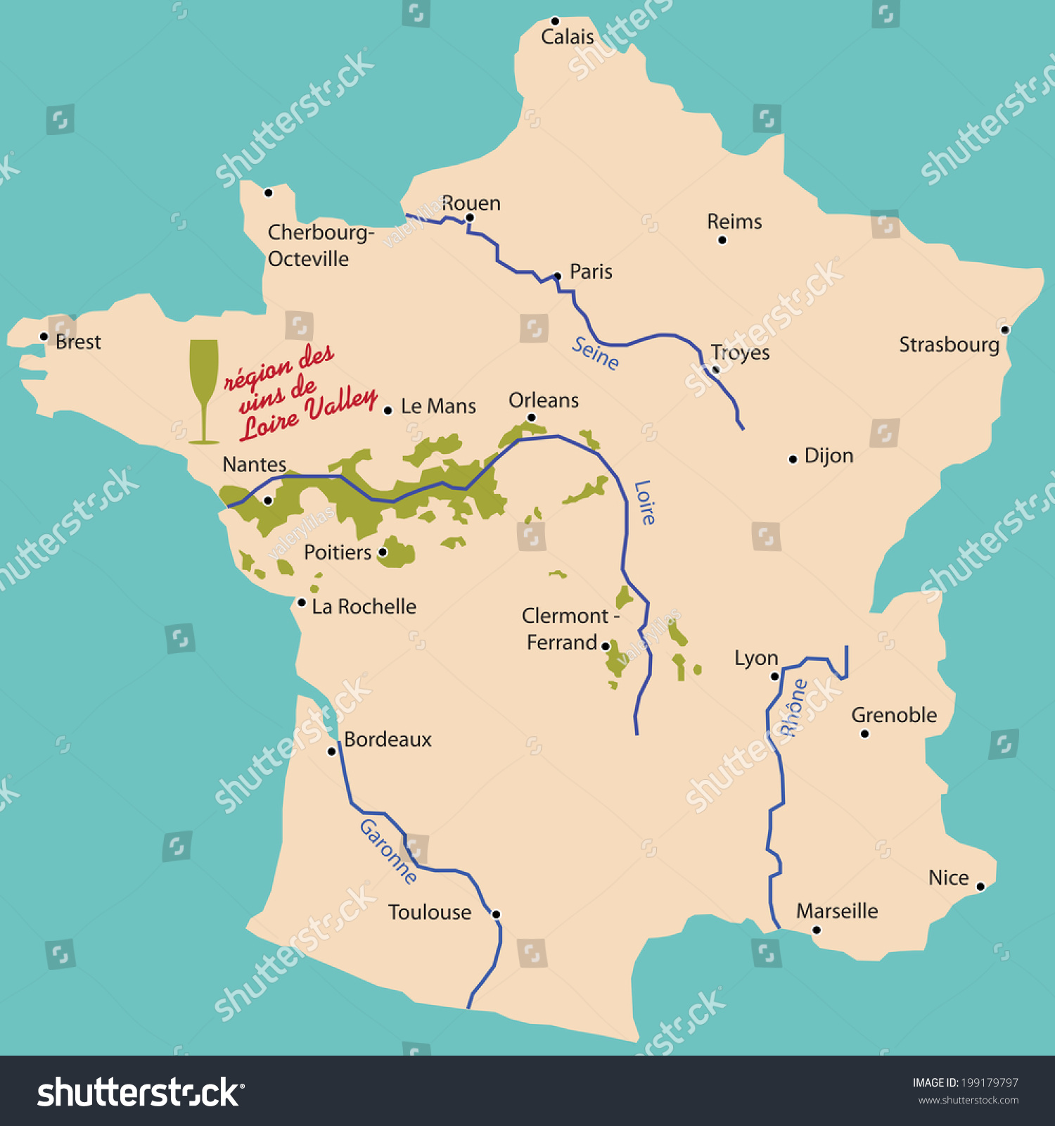 map wine region of loire valley in france. map wine region loire valley france stock vector