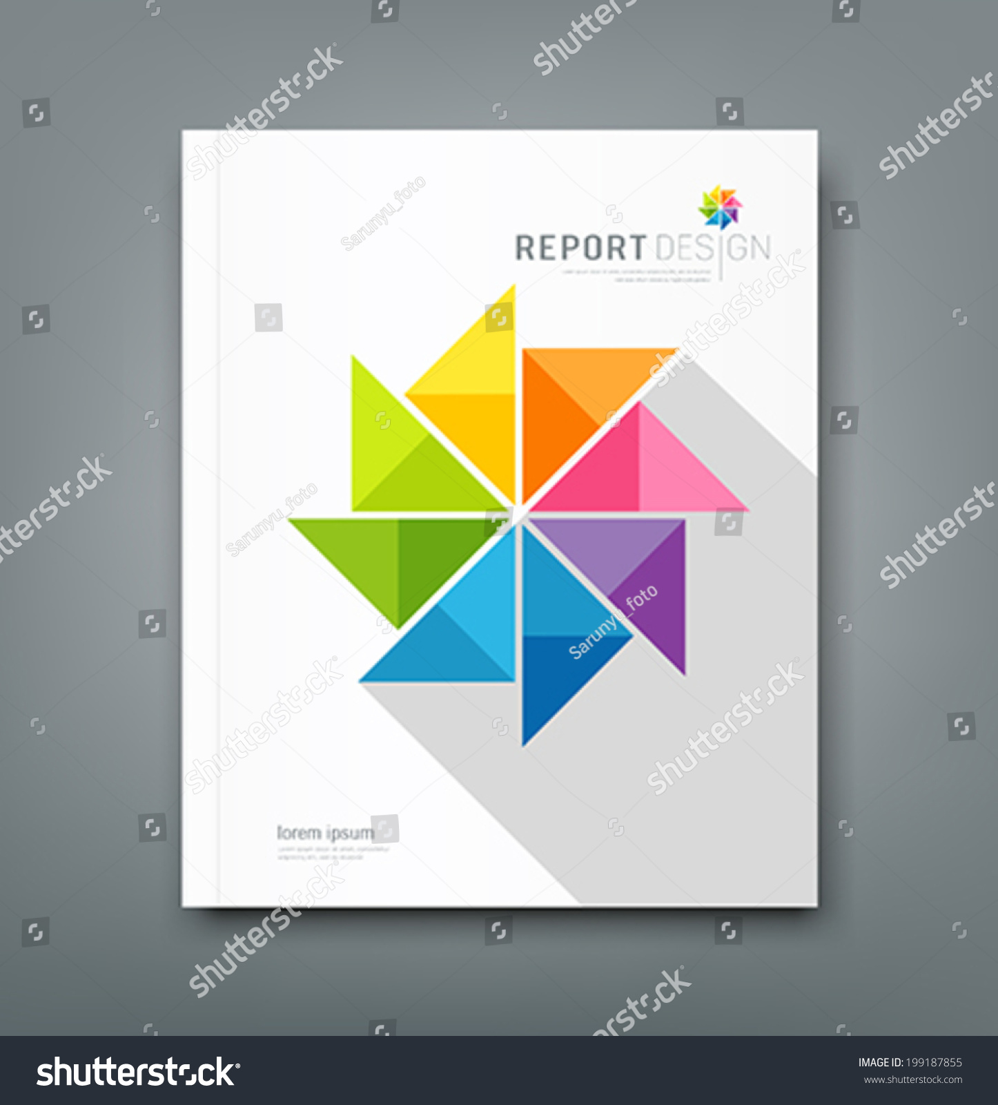 cover annual report colorful windmill origami stock vector cover annual report colorful windmill origami paper design vector illustration