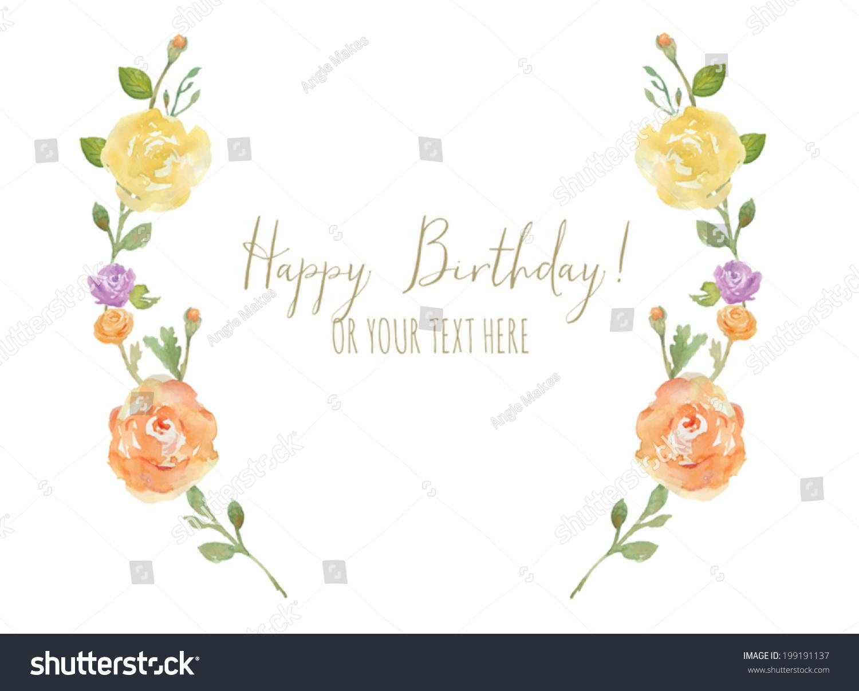 Flower Laurel Wreath Happy Birthday Calligraphy Stock