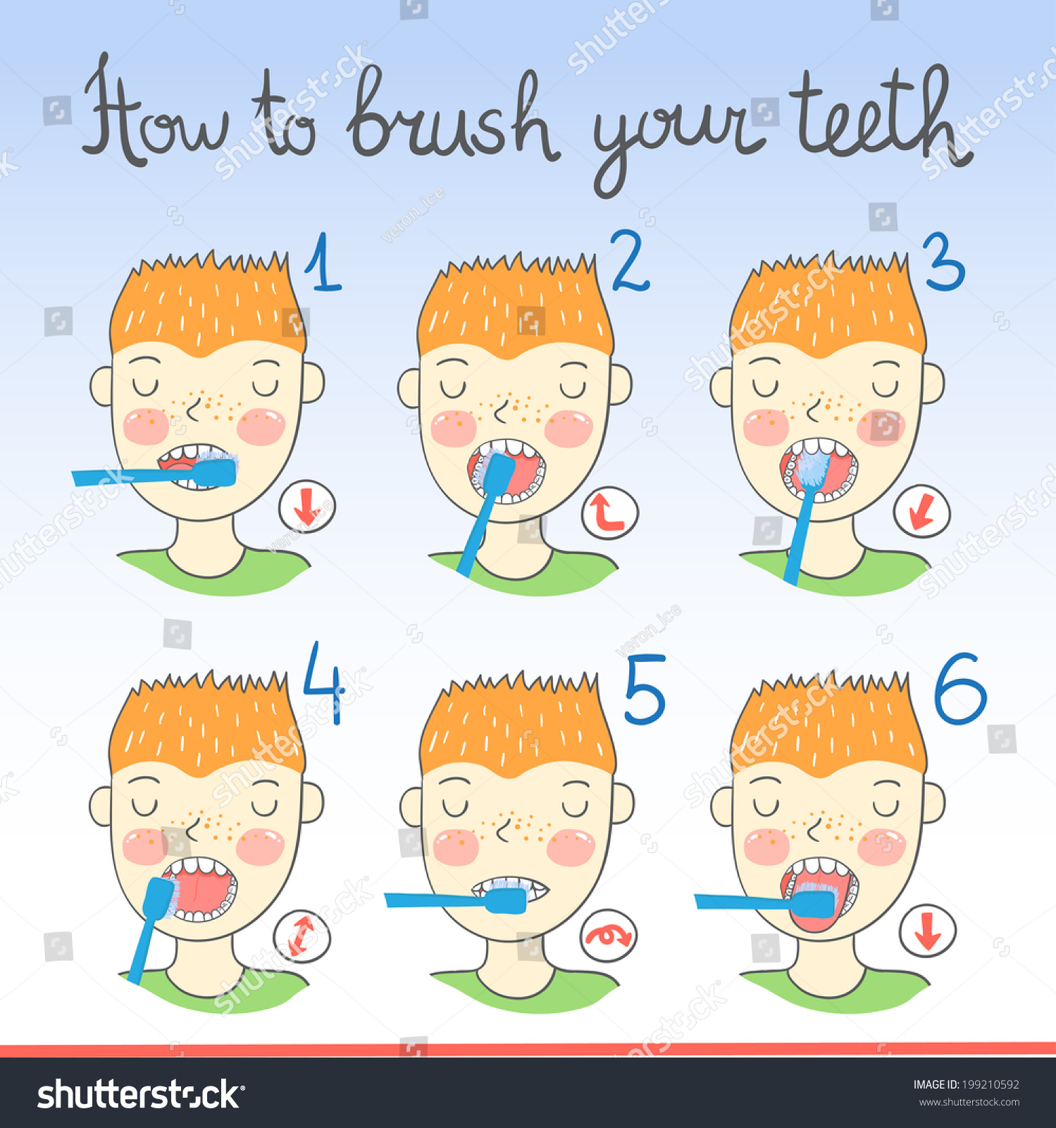 Instructions On How Brush Your Teeth Stock Vector 199210592 ...