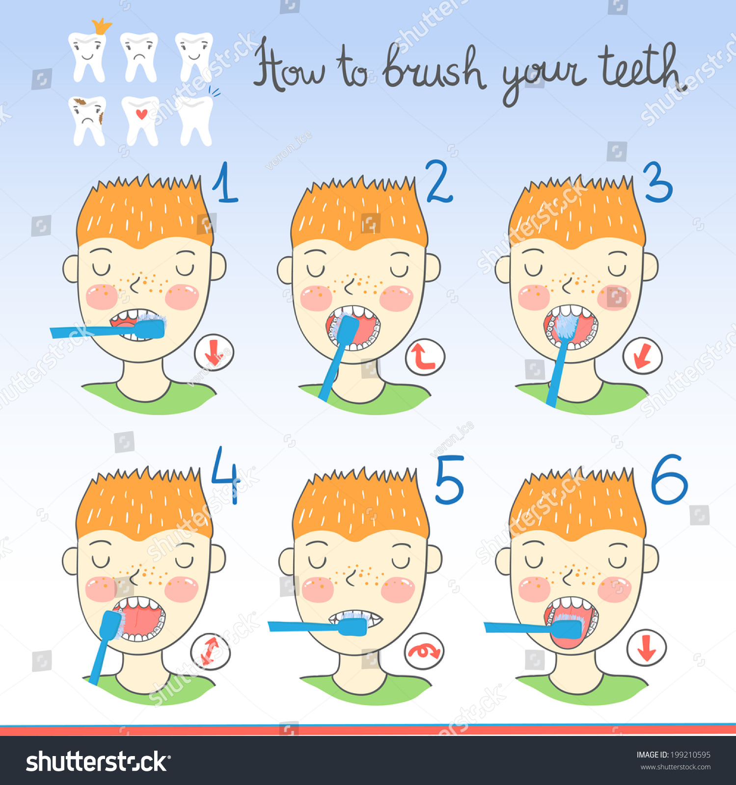 Instructions On How Brush Your Teeth Stock Vector ...