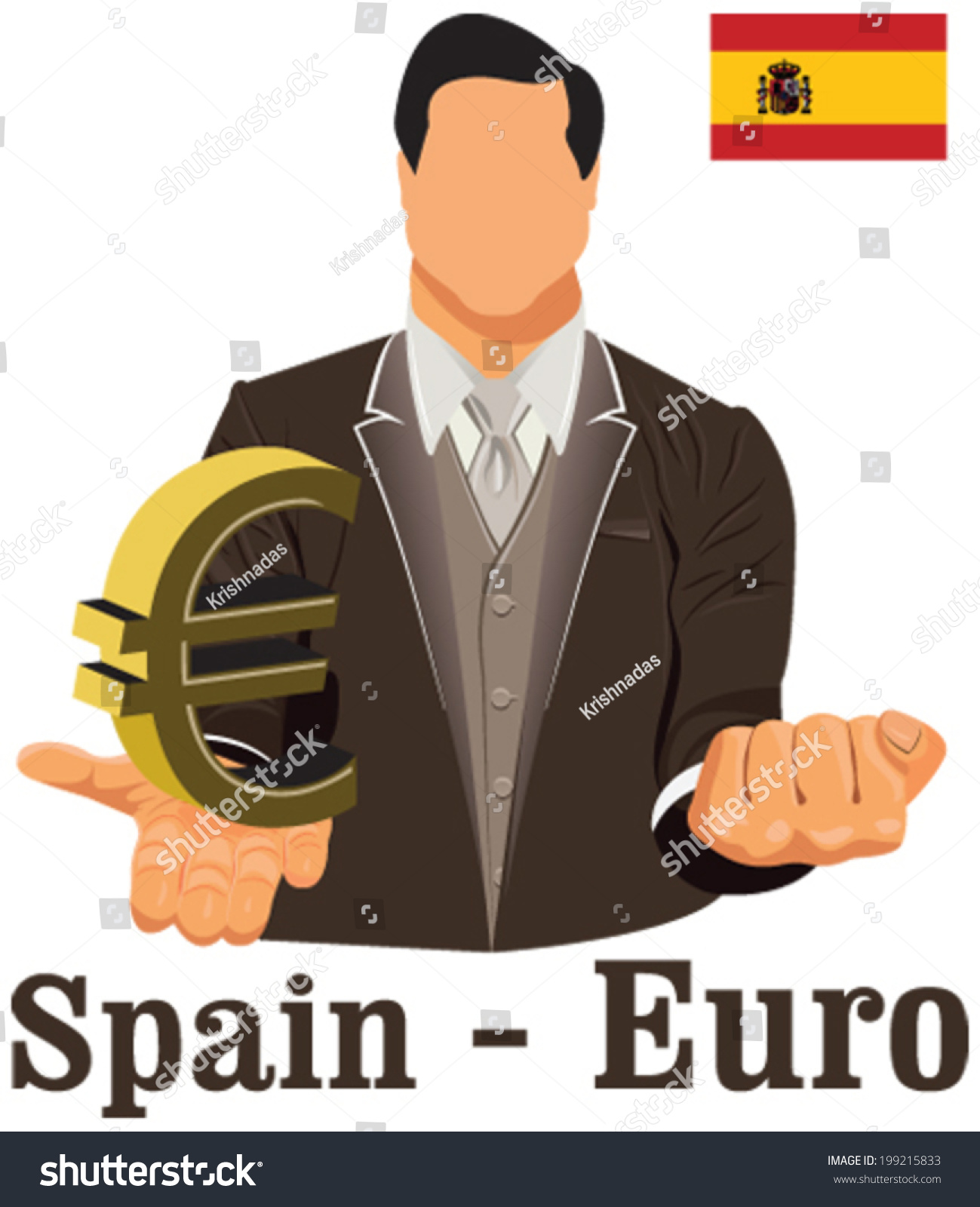 Spain Currency Symbol Euro Representing Money Stock Vector Royalty
