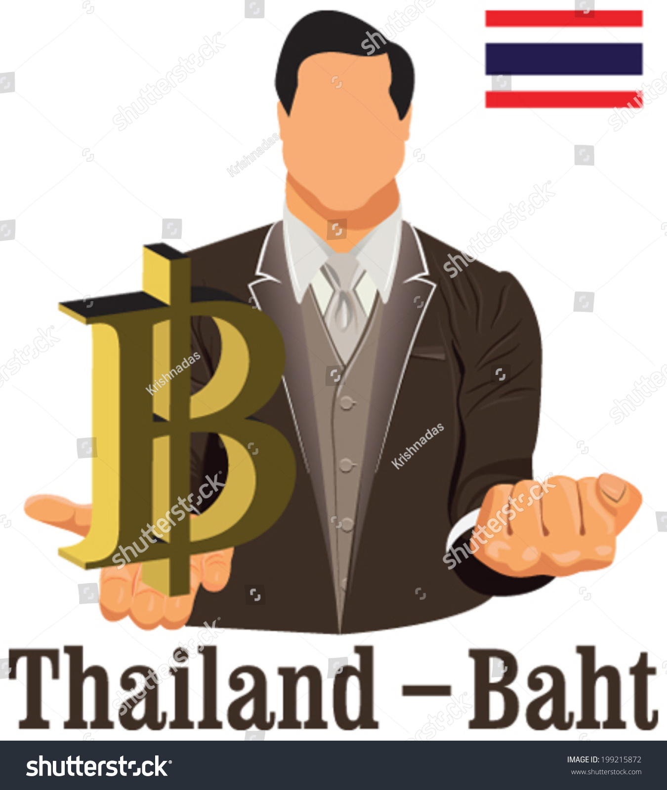 Thailand Currency Symbol Baht Representing Money Stock Vector