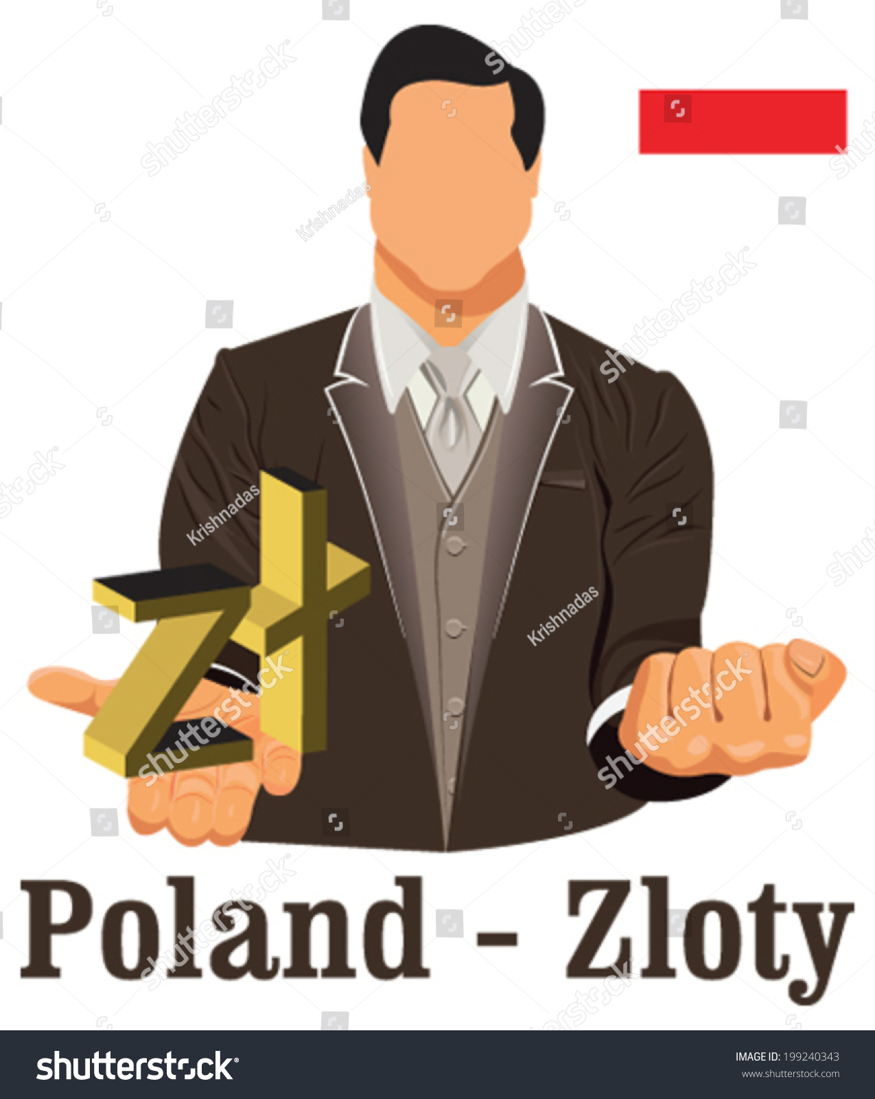Poland National Currency Symbol Polish Zloty Stock Vector Royalty