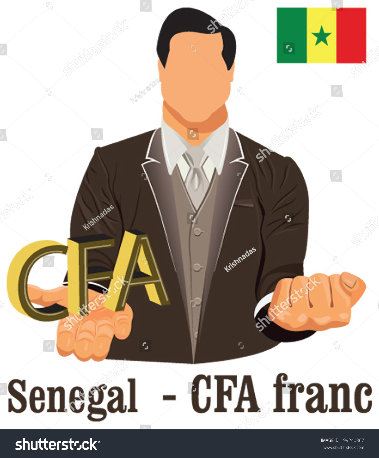 Senegal National Currency Symbol Cfa Franc Stock Vector Royalty